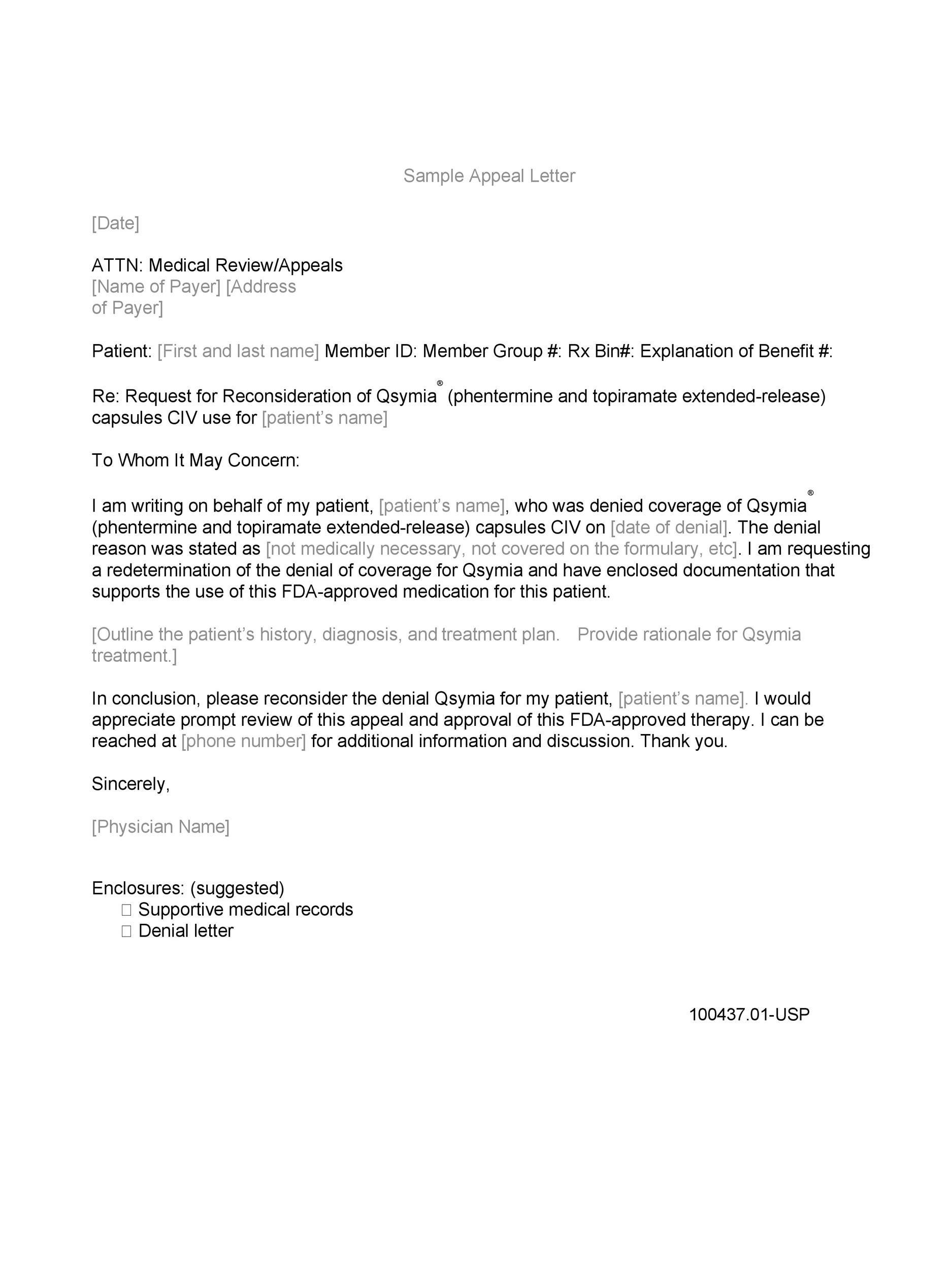Free appeal letter 35