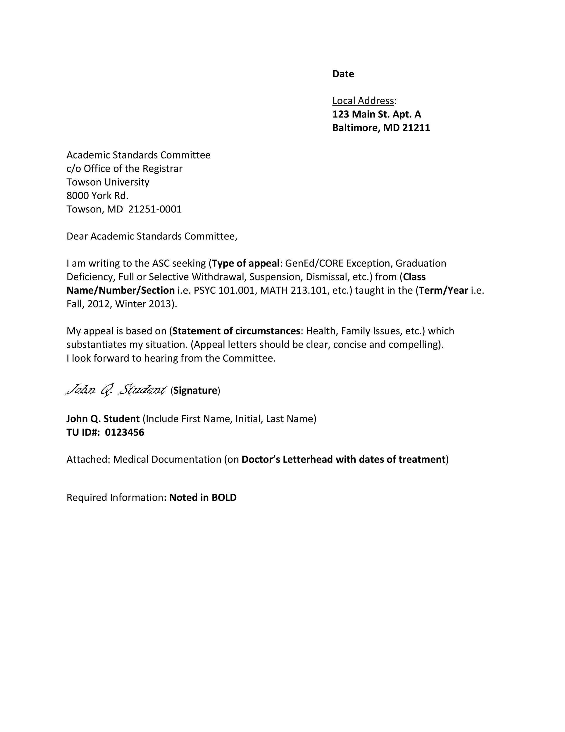 Free appeal letter 40