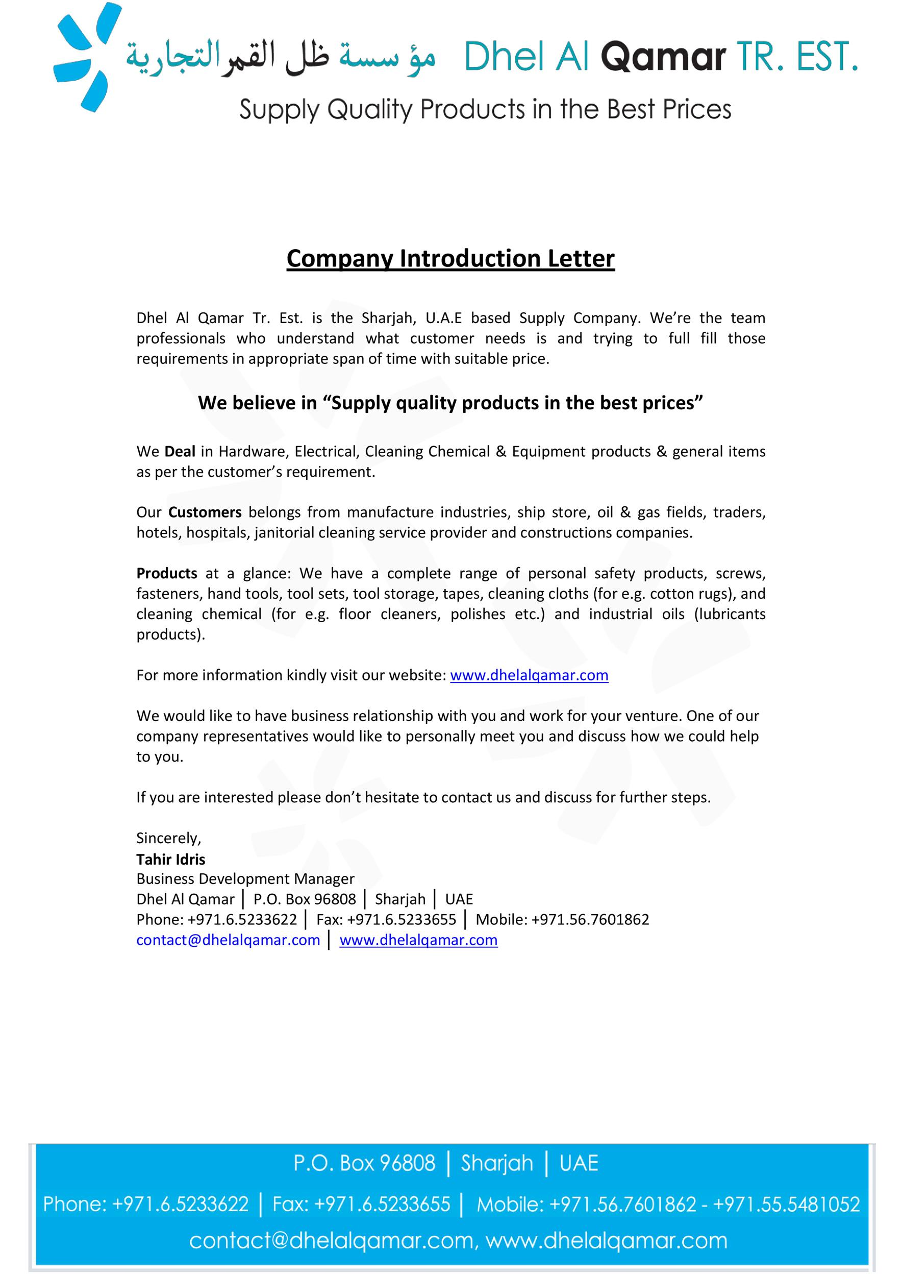 Free business introduction letter 04