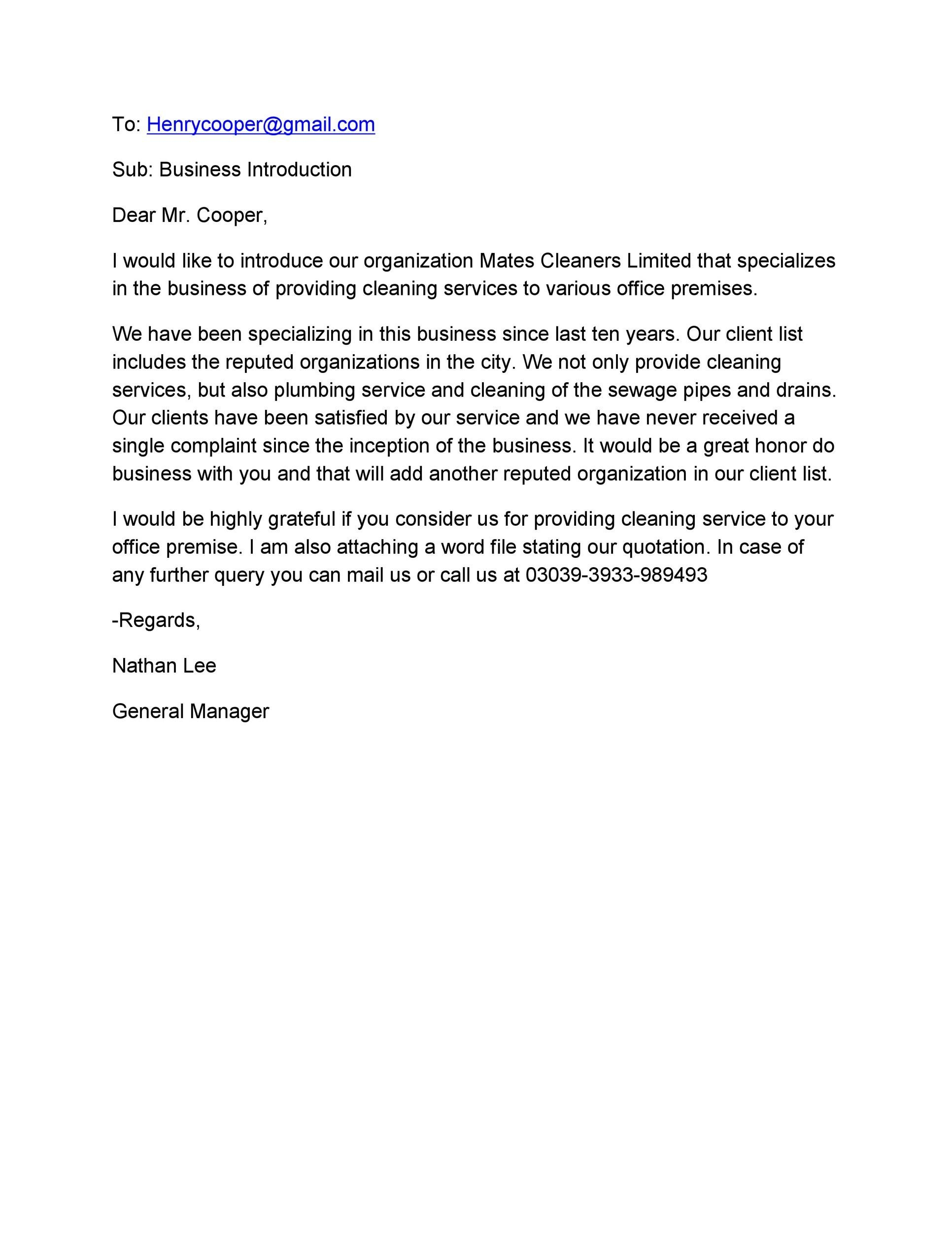 Free business introduction letter 17