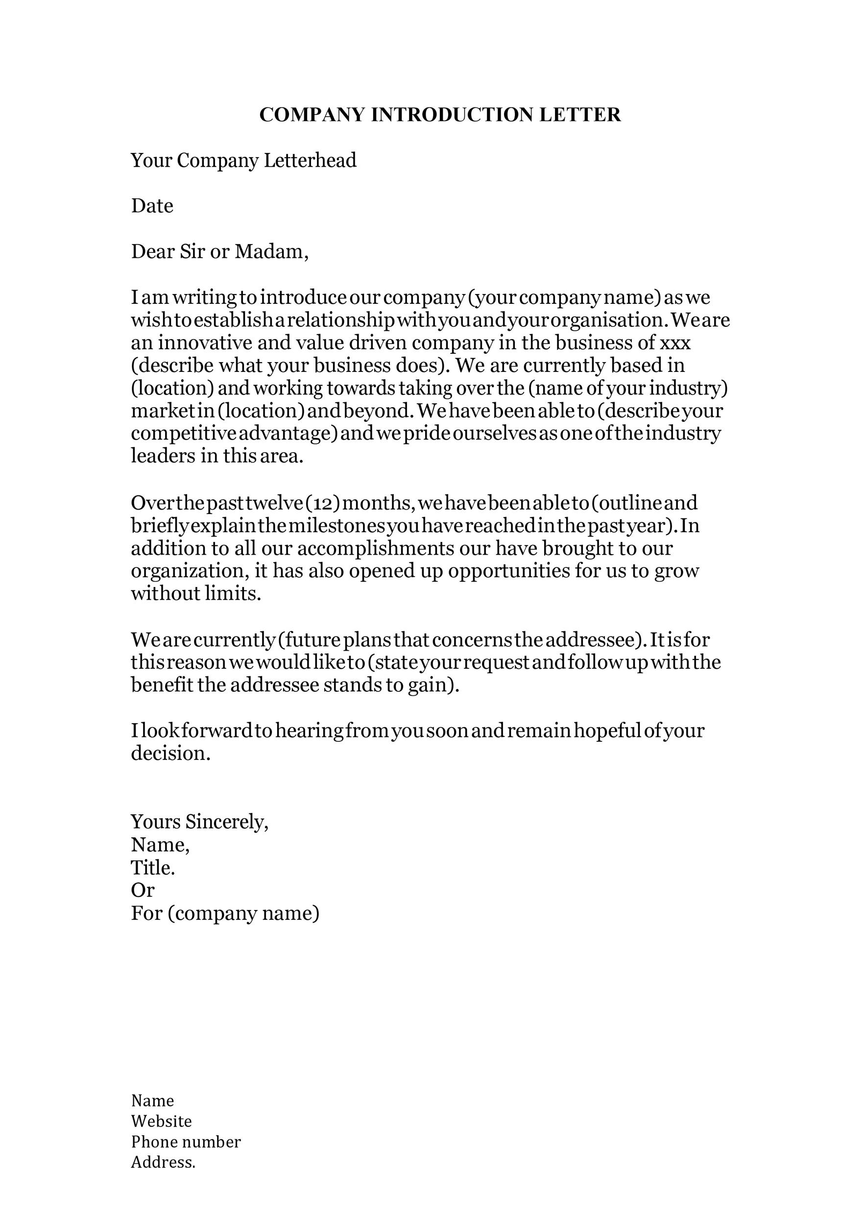 Free business introduction letter 21