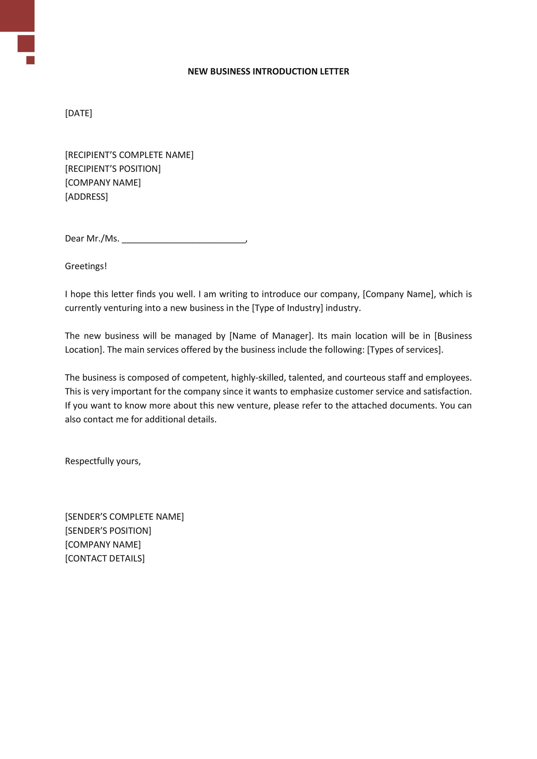 New Company Introduction Letter from templatelab.com