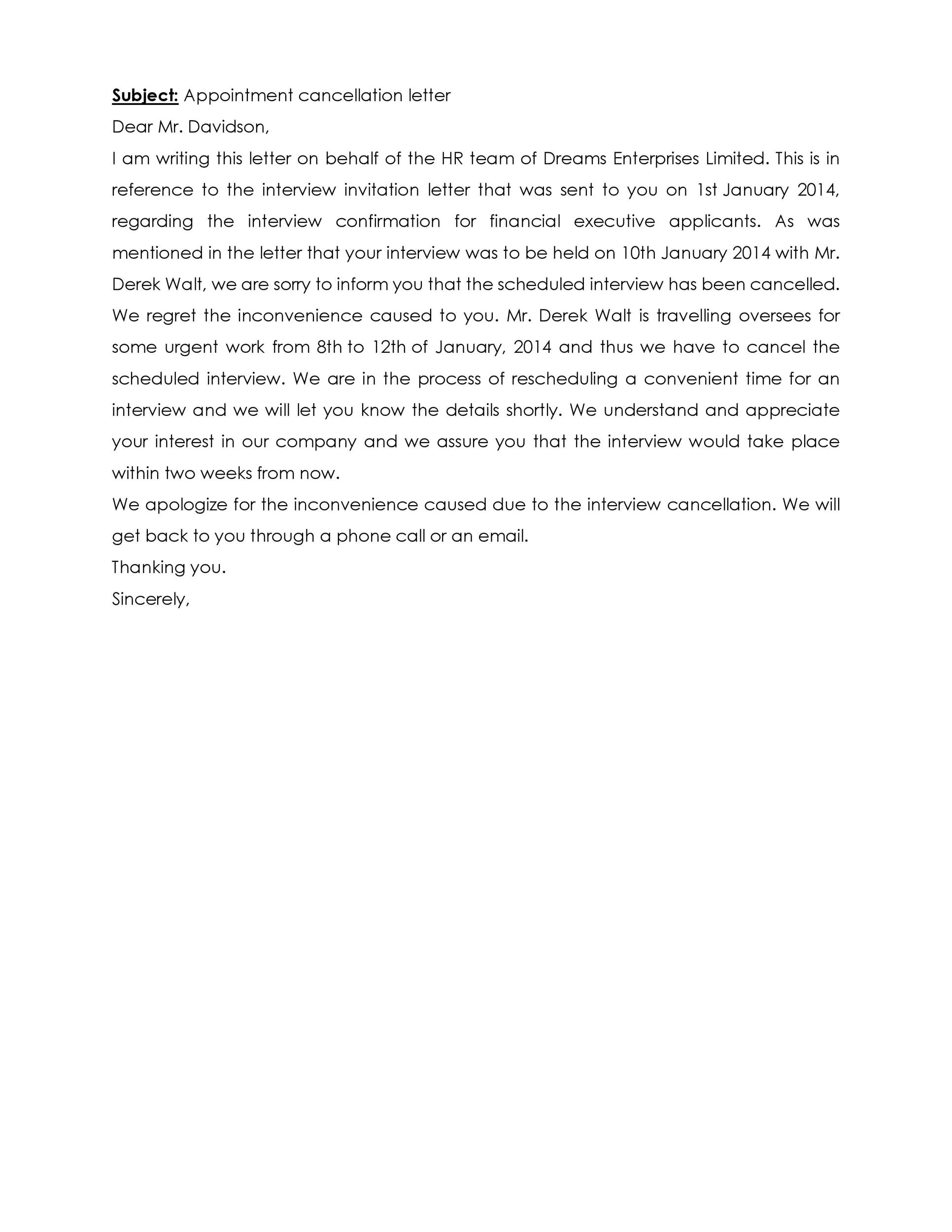 Free cancellation letter 04