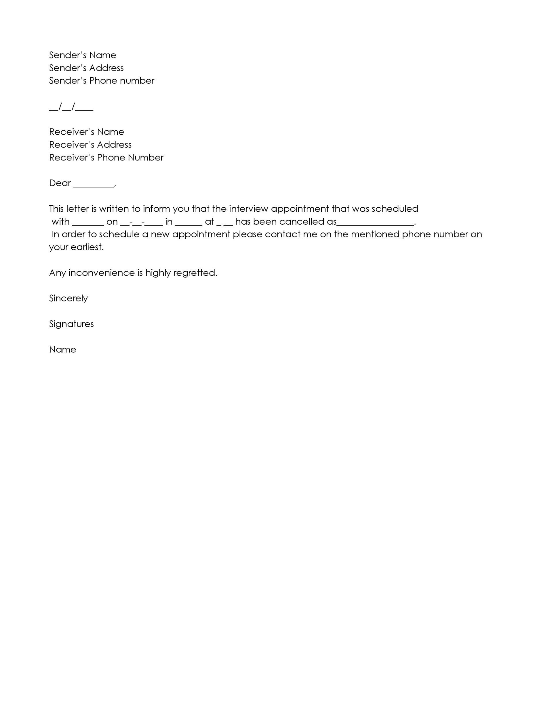 Free cancellation letter 12