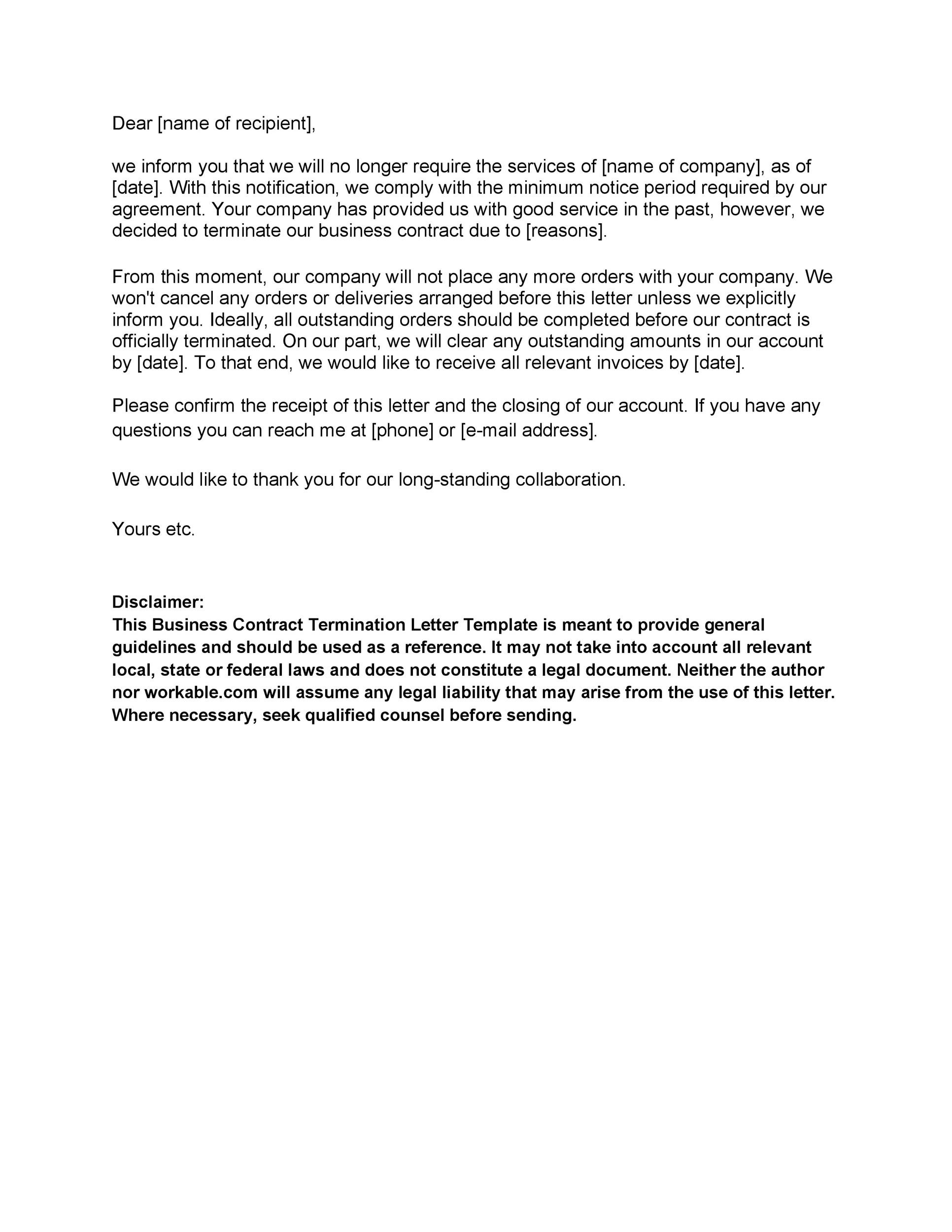 Free cancellation letter 16