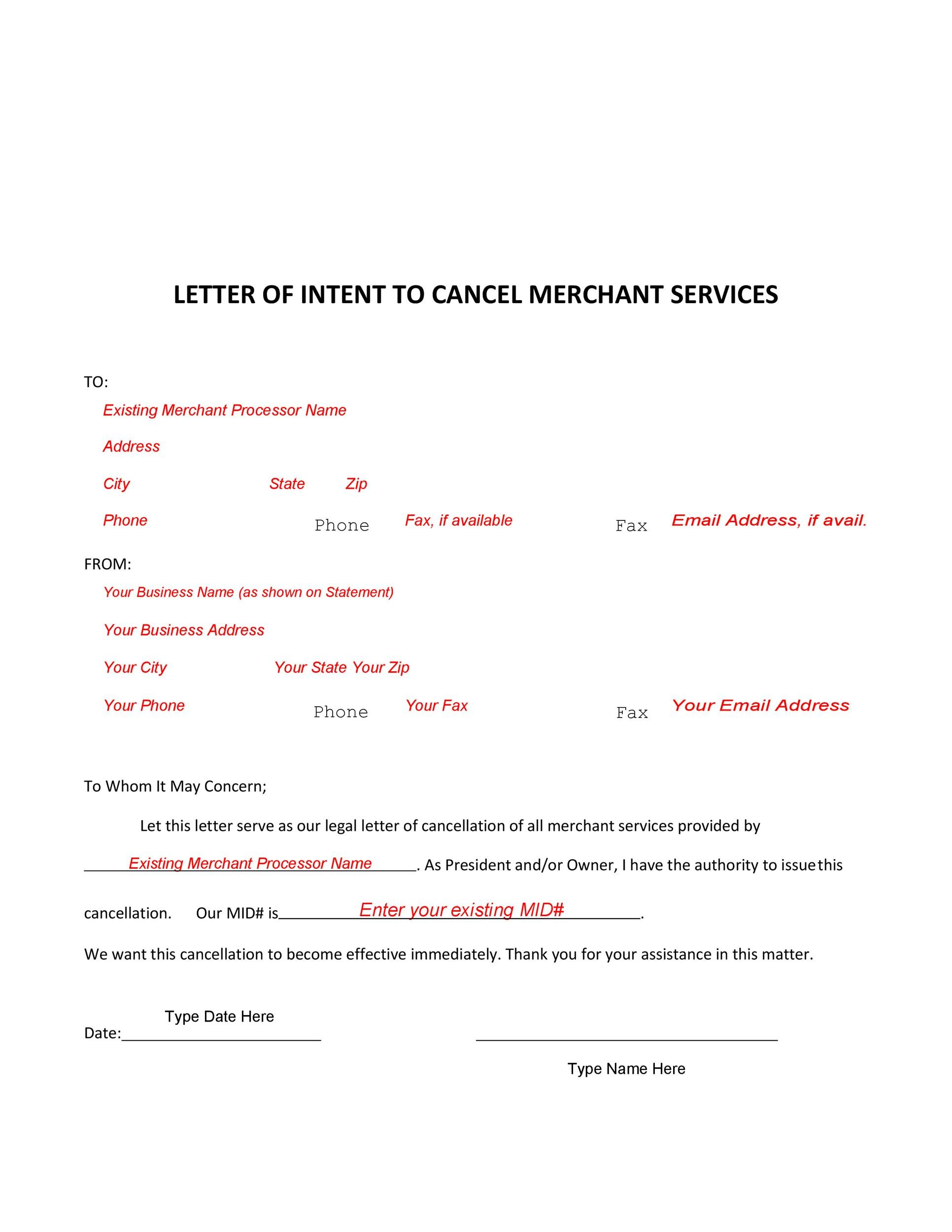 Free cancellation letter 17