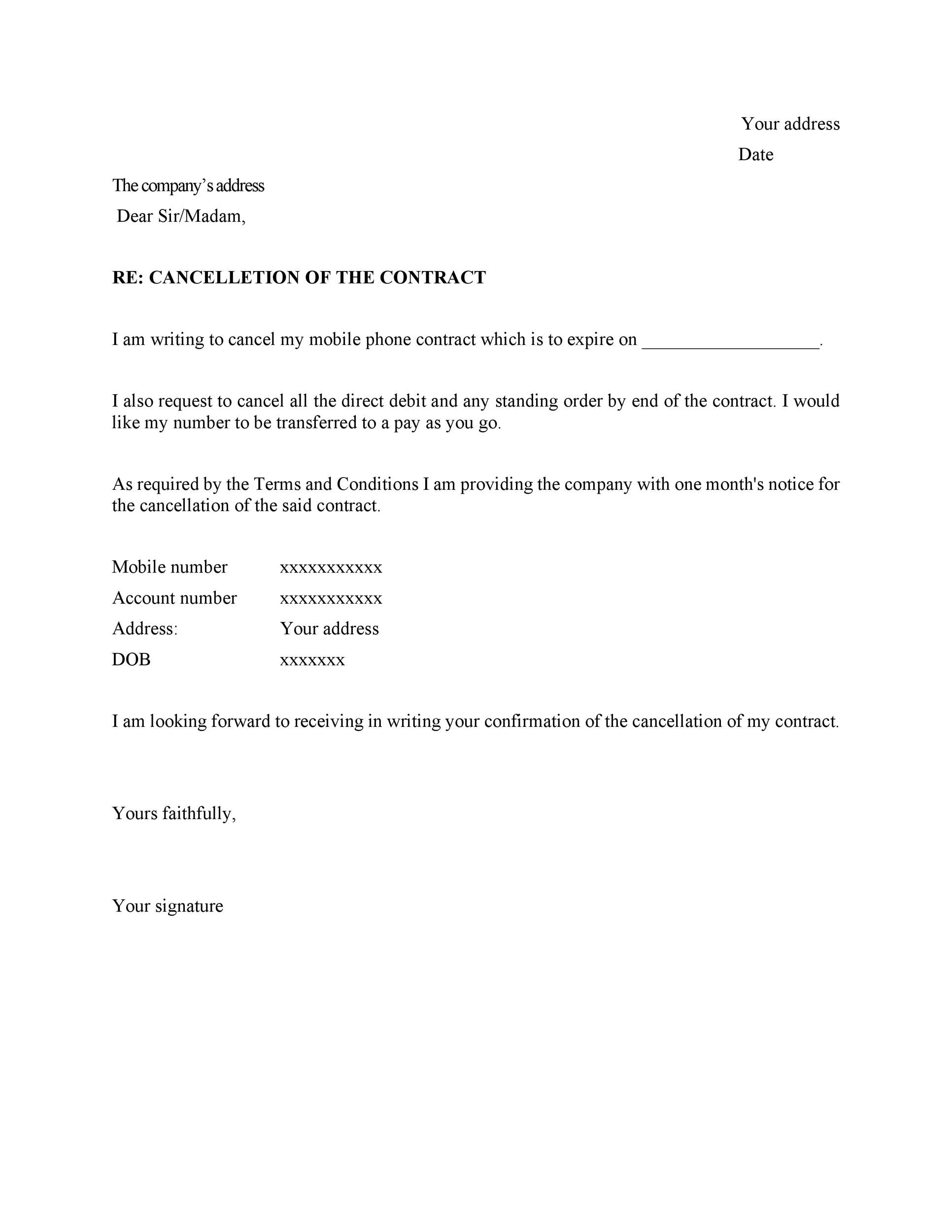 Free cancellation letter 23