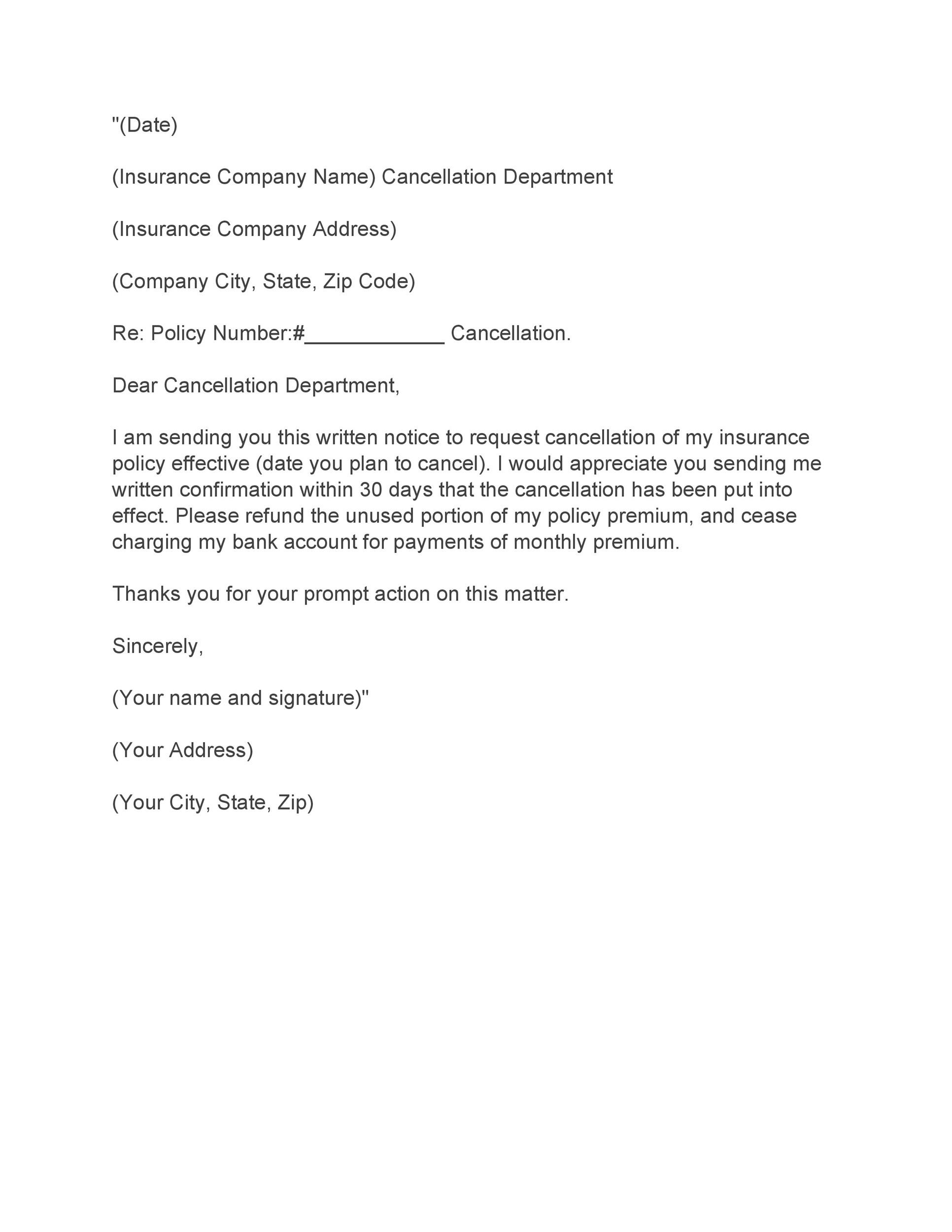 Free cancellation letter 24