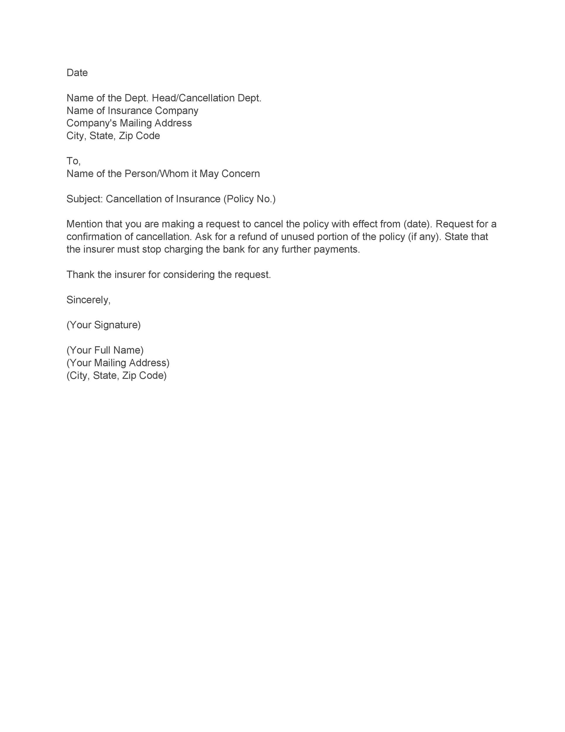 Free cancellation letter 25