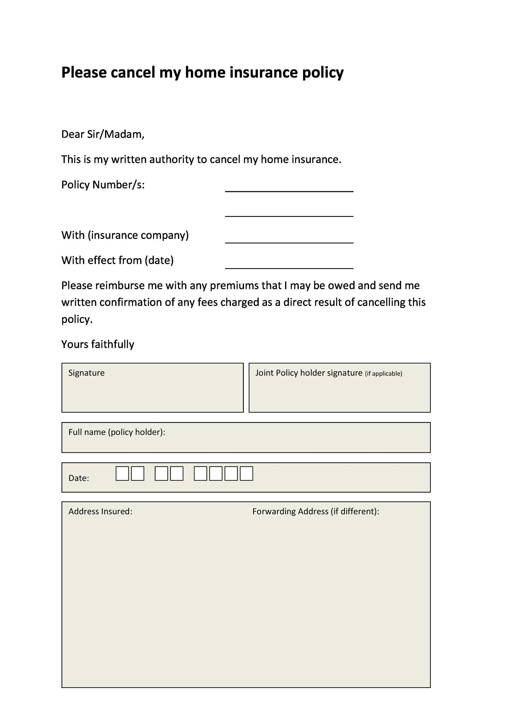 Free cancellation letter 30