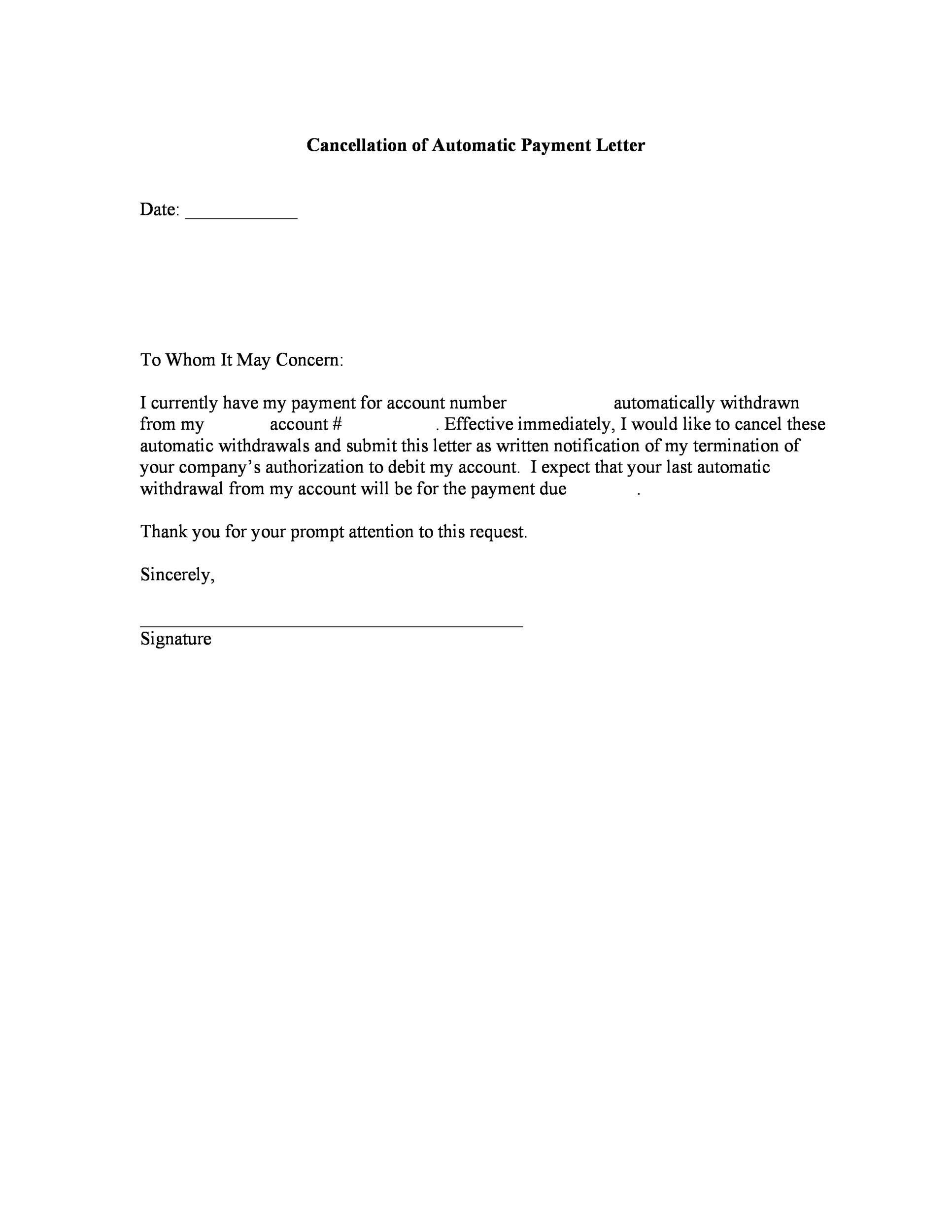 Free cancellation letter 40
