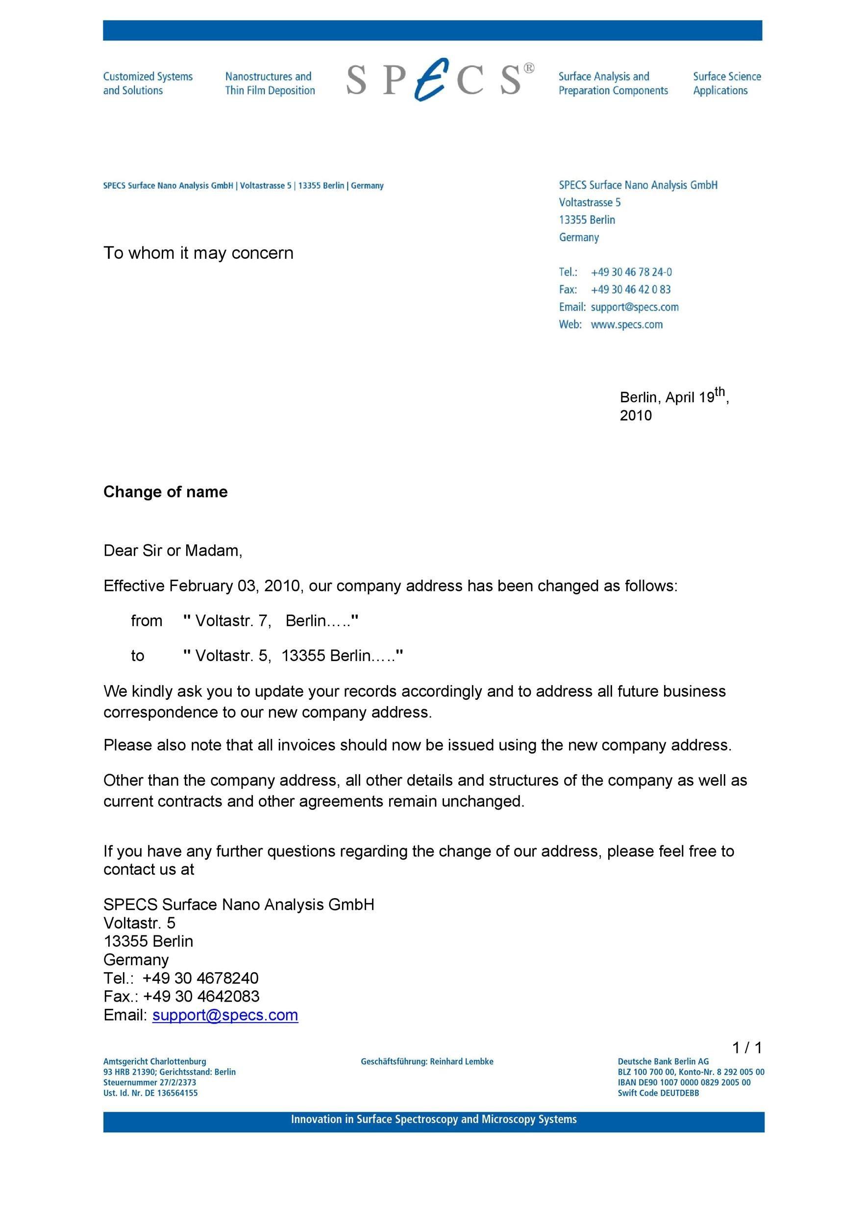Free change of address letter 01