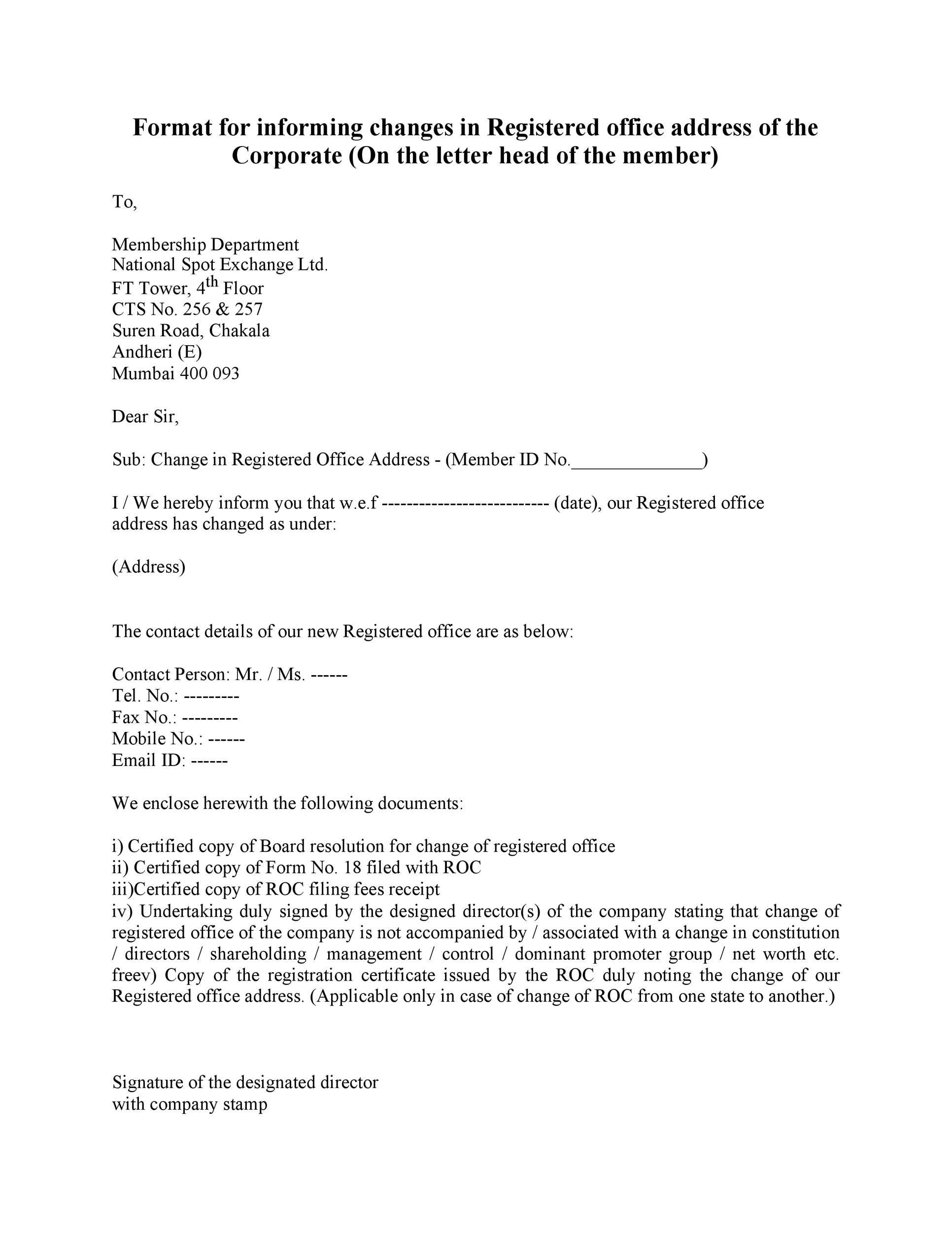 Free change of address letter 02