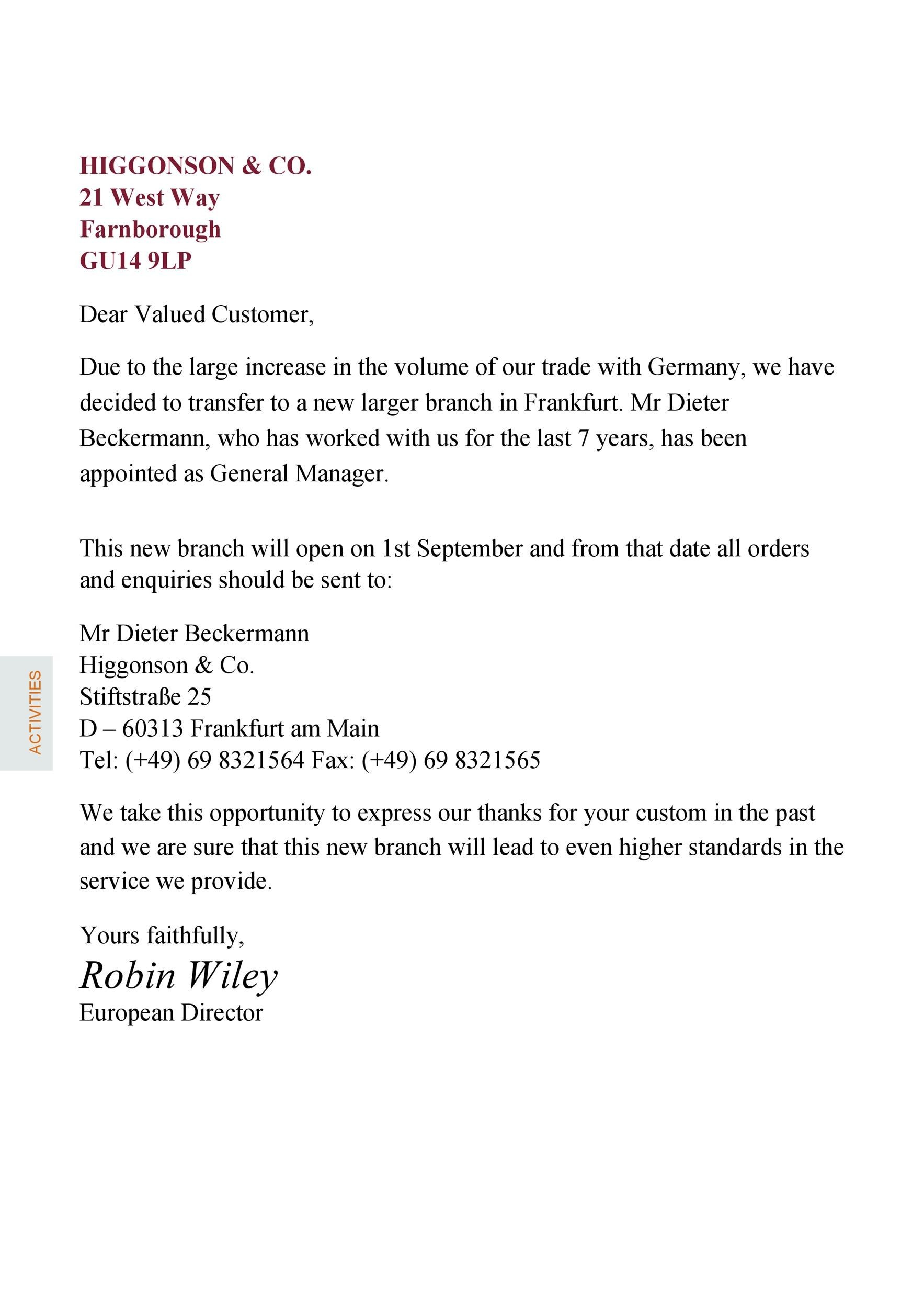Free change of address letter 06