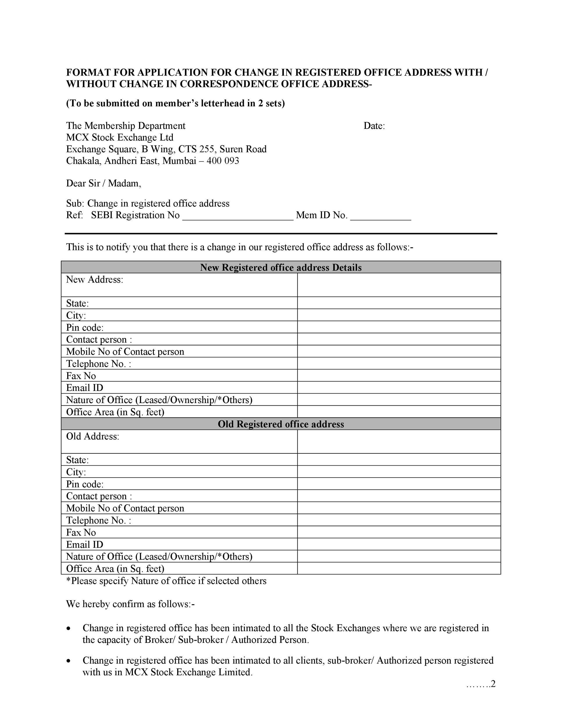 Free change of address letter 07