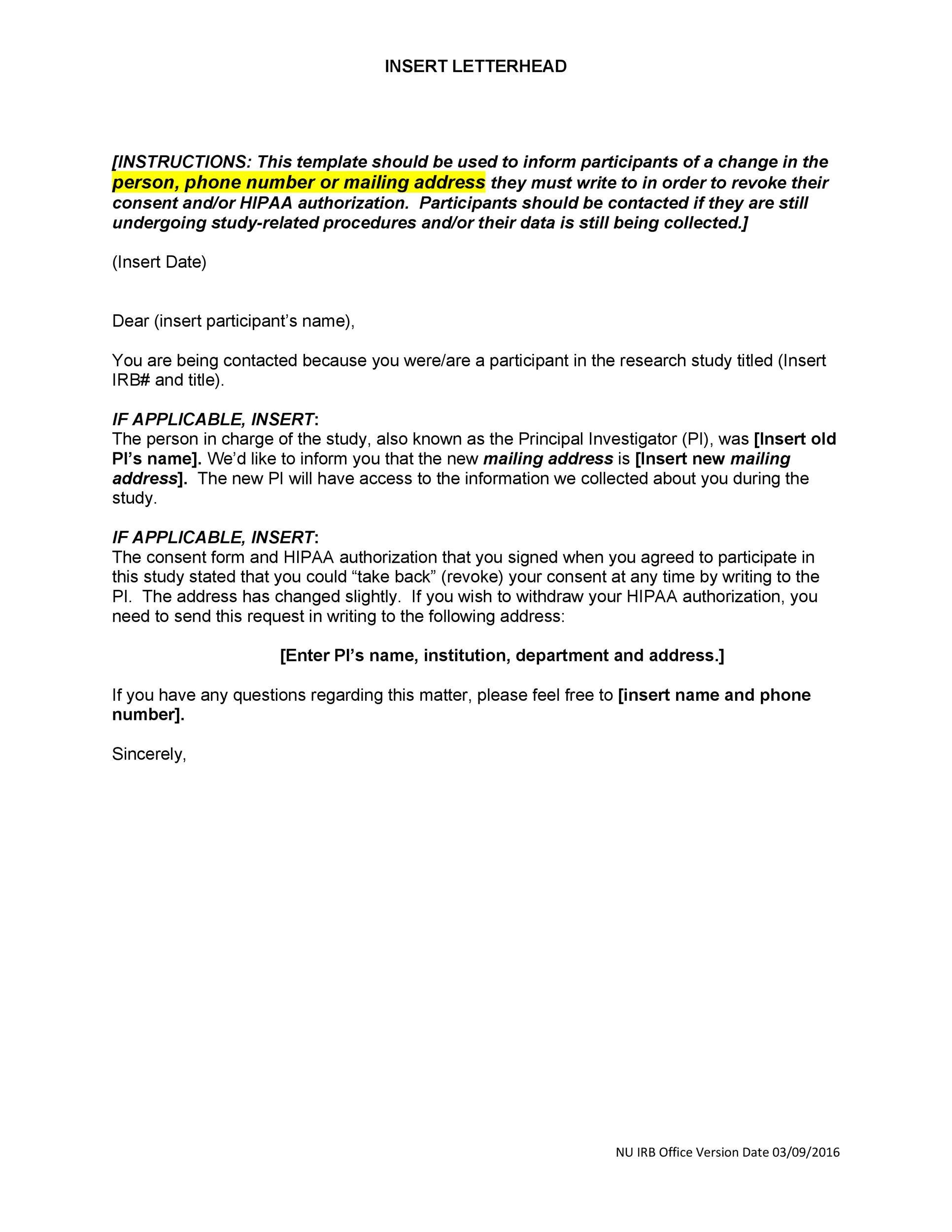 Free change of address letter 08