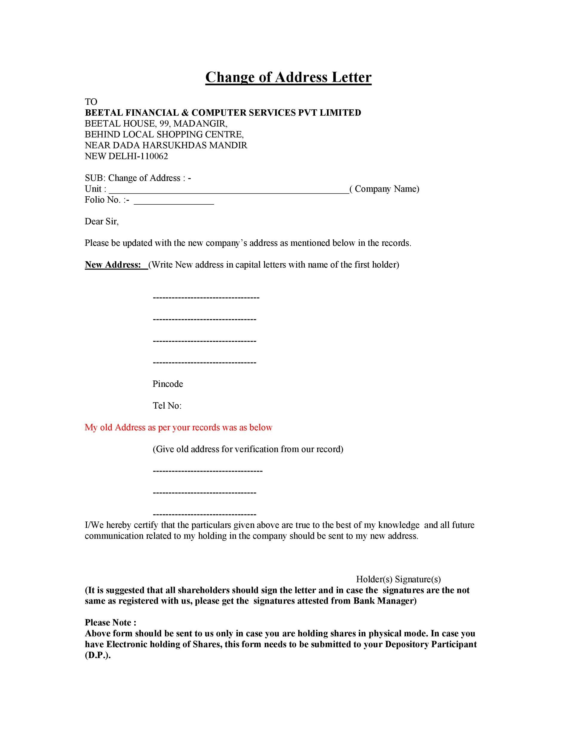 Free change of address letter 10
