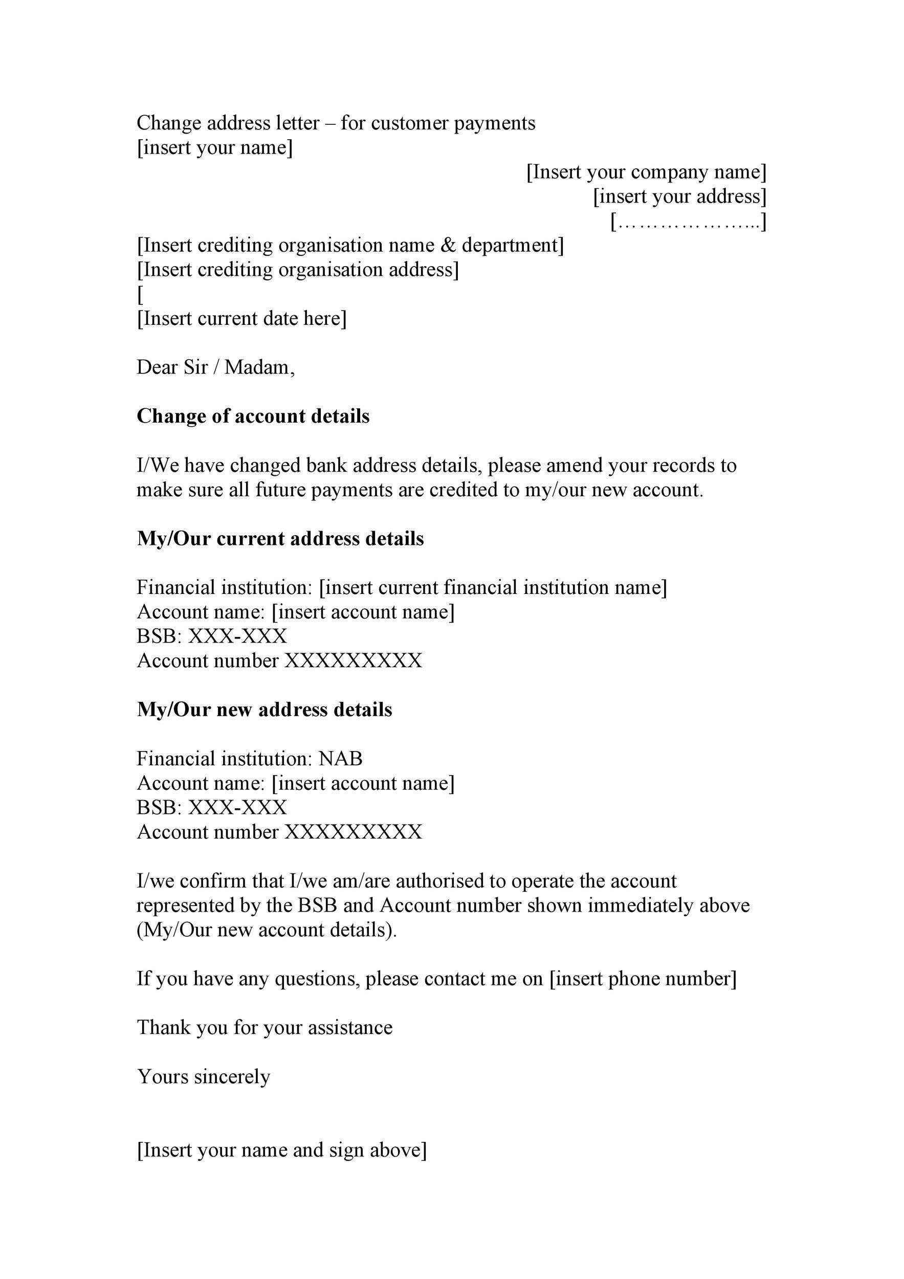 Free change of address letter 12