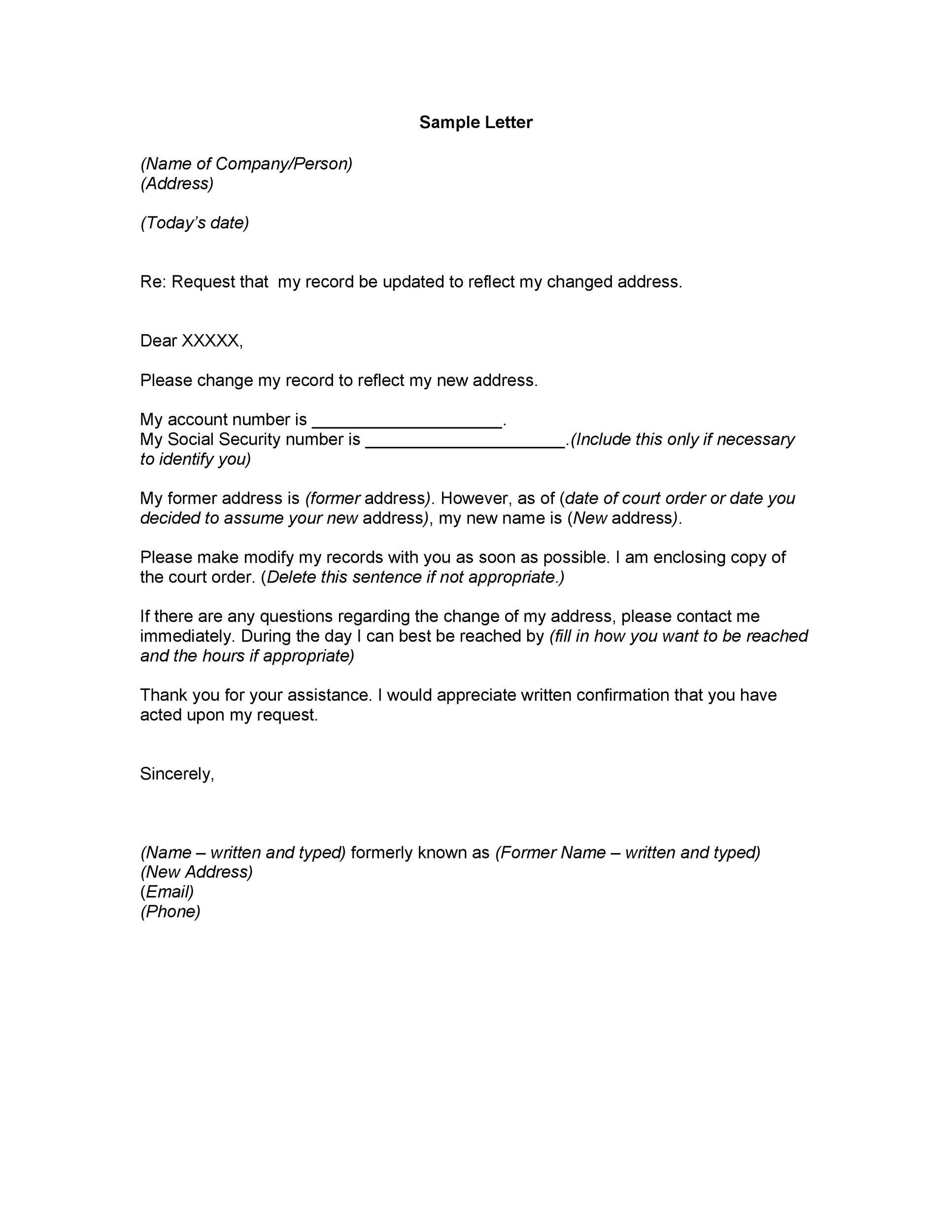 Free change of address letter 13