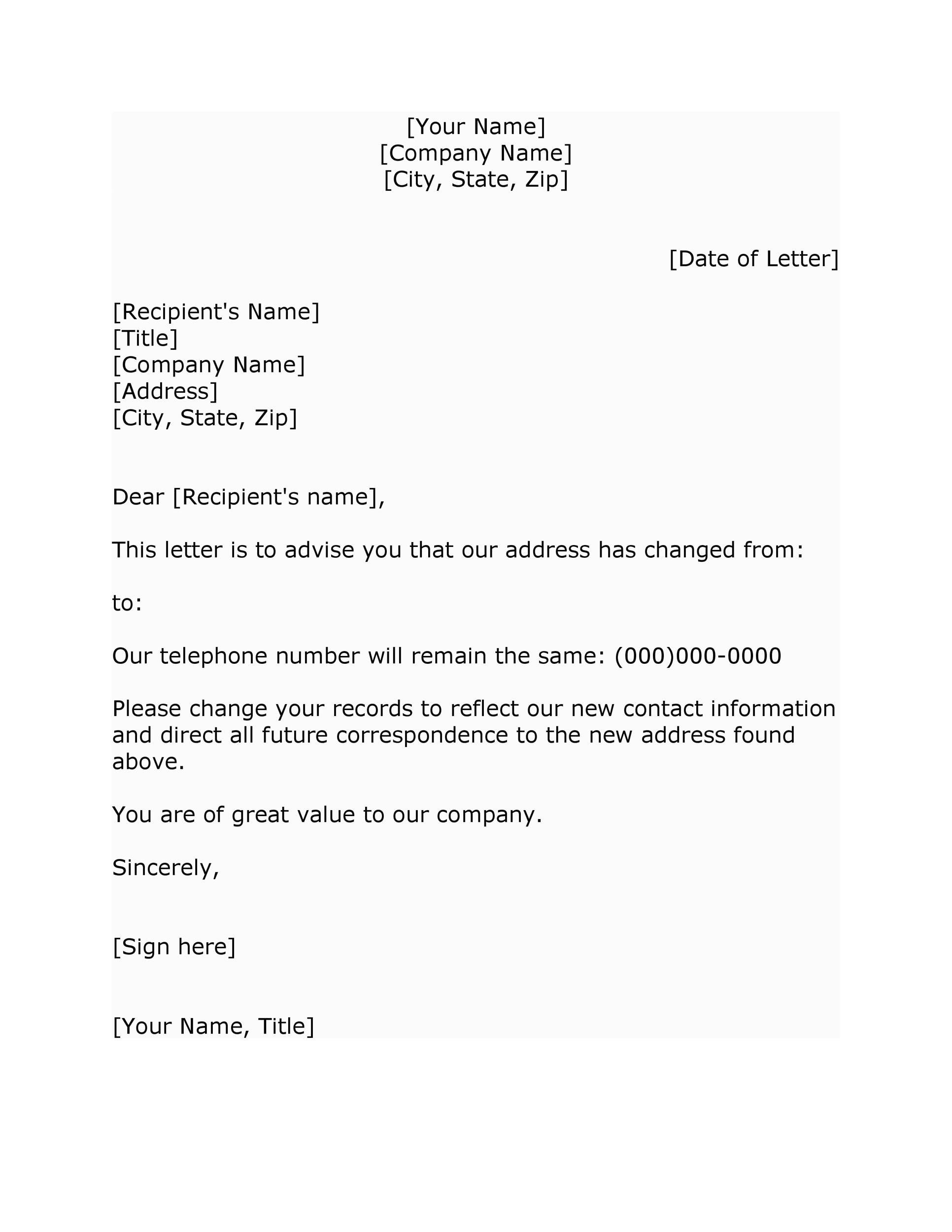 Free change of address letter 14