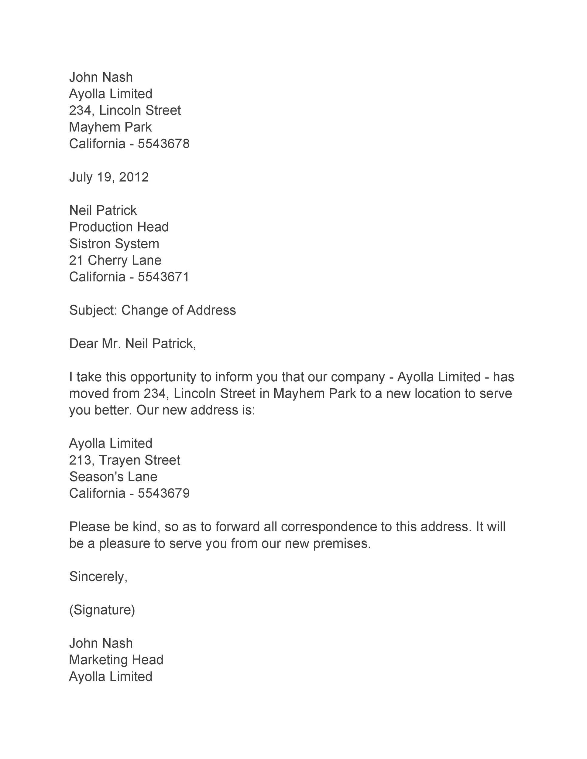 Free change of address letter 15