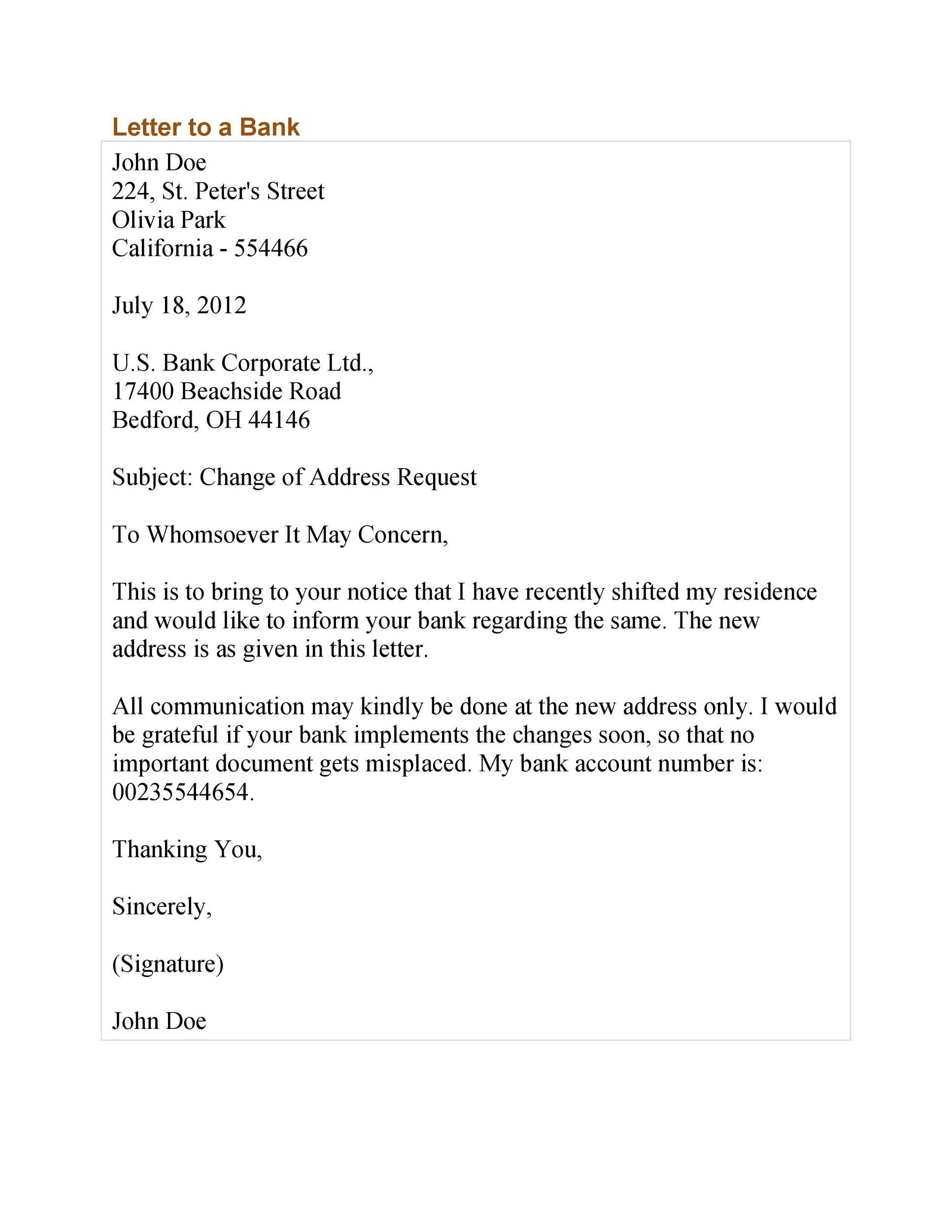Free change of address letter 16