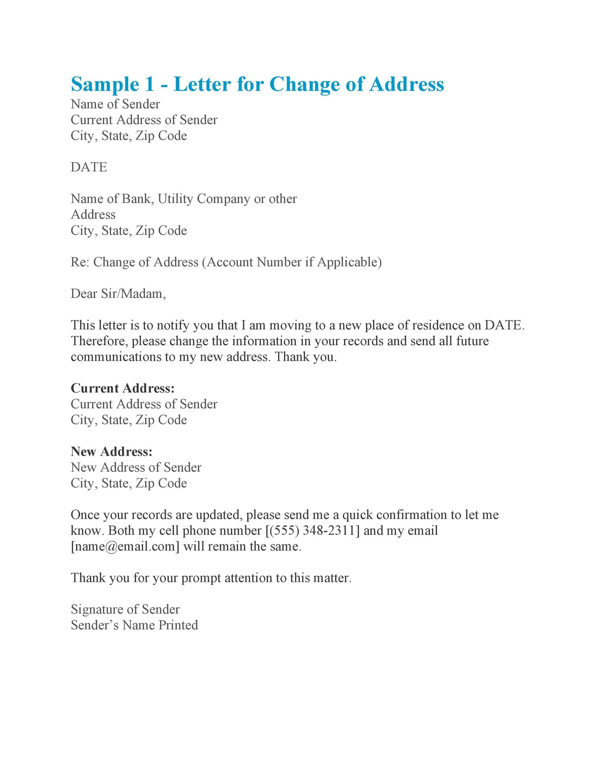 Free change of address letter 17