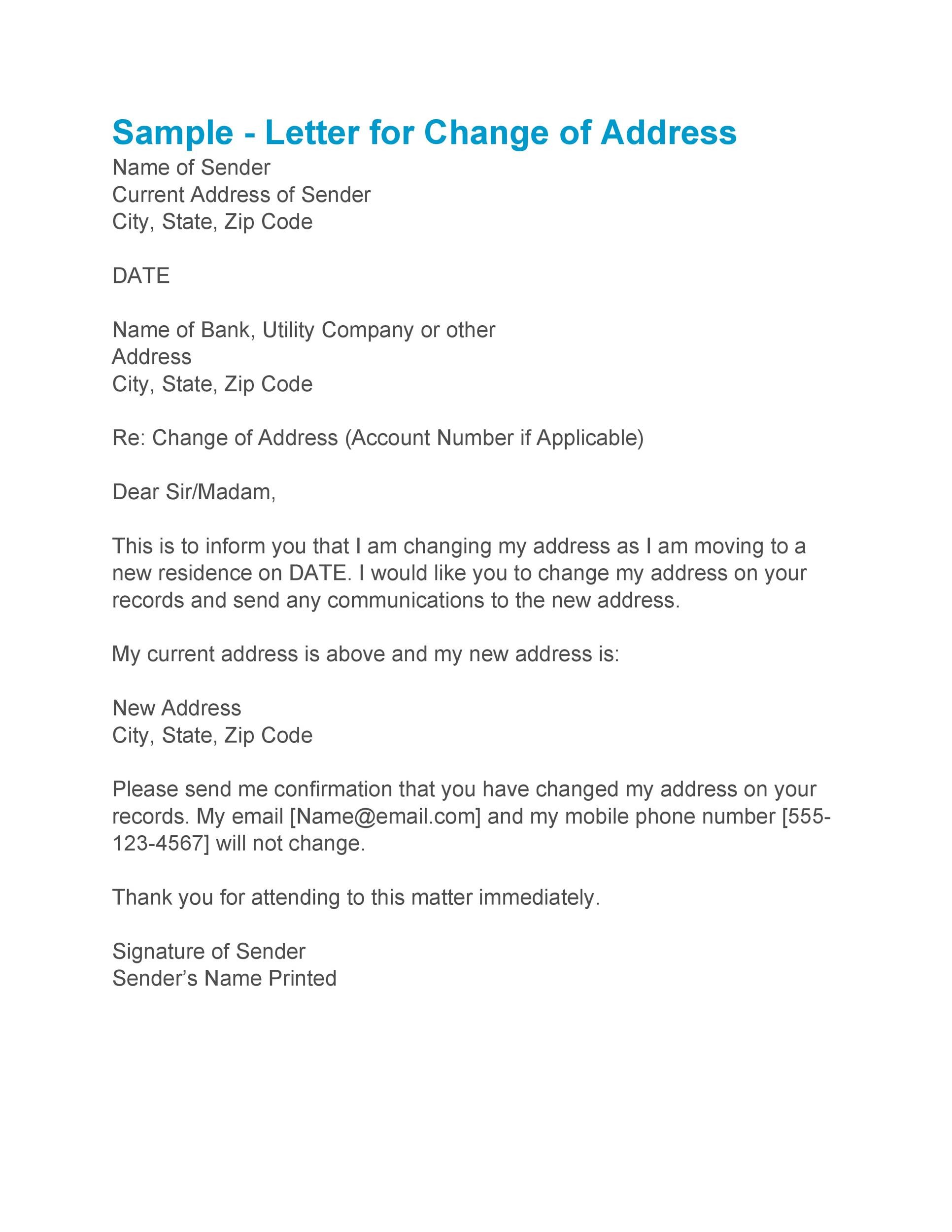 Free change of address letter 18