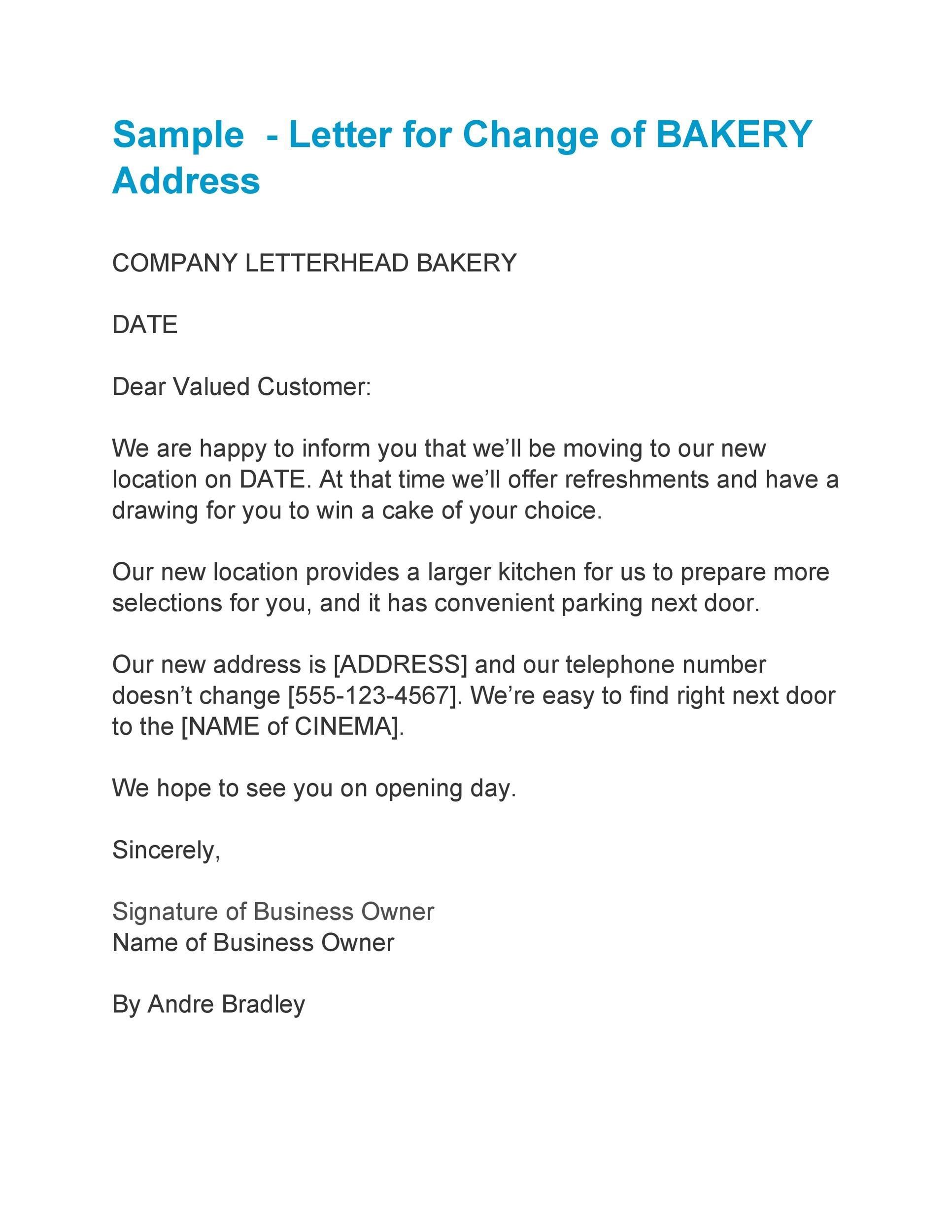 Free change of address letter 19