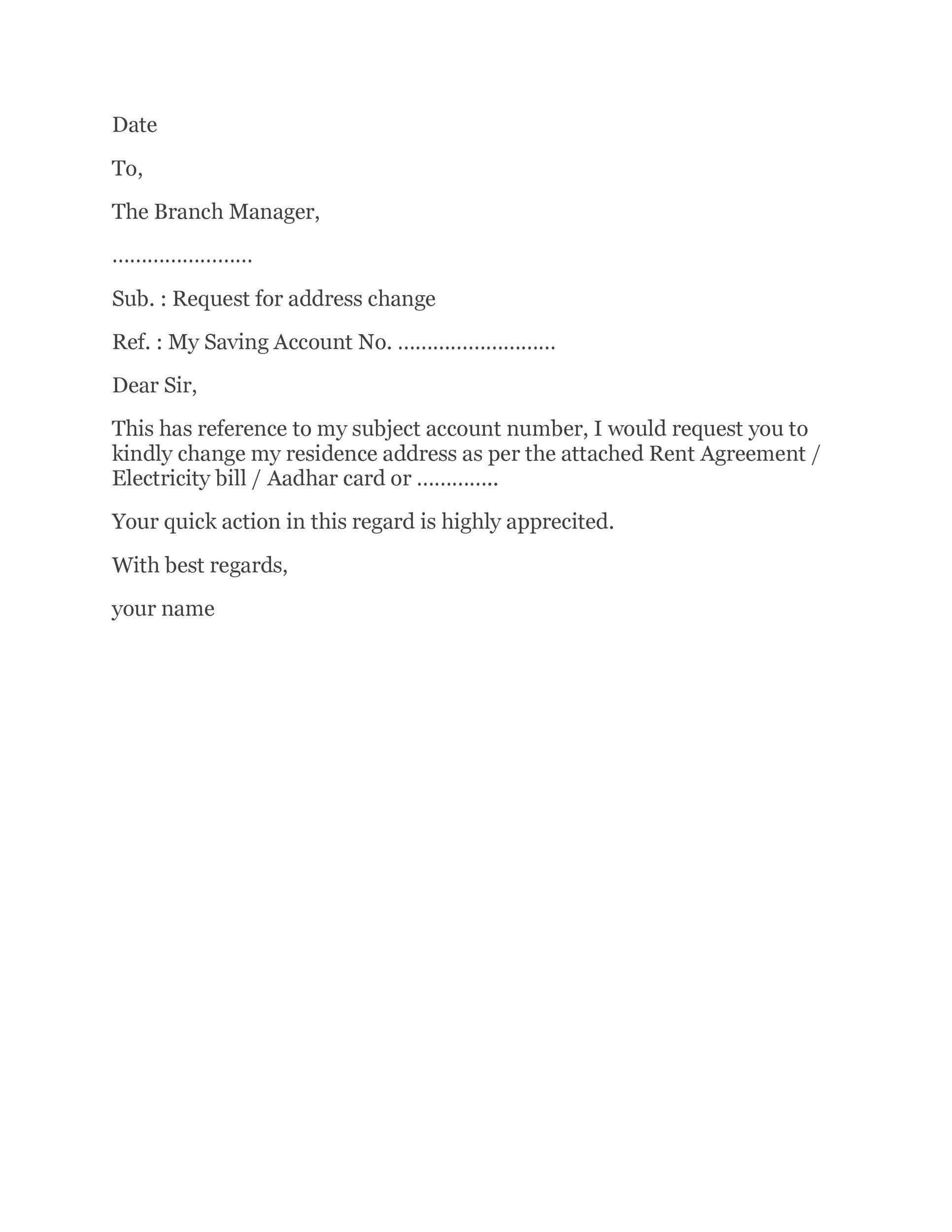 Free change of address letter 22