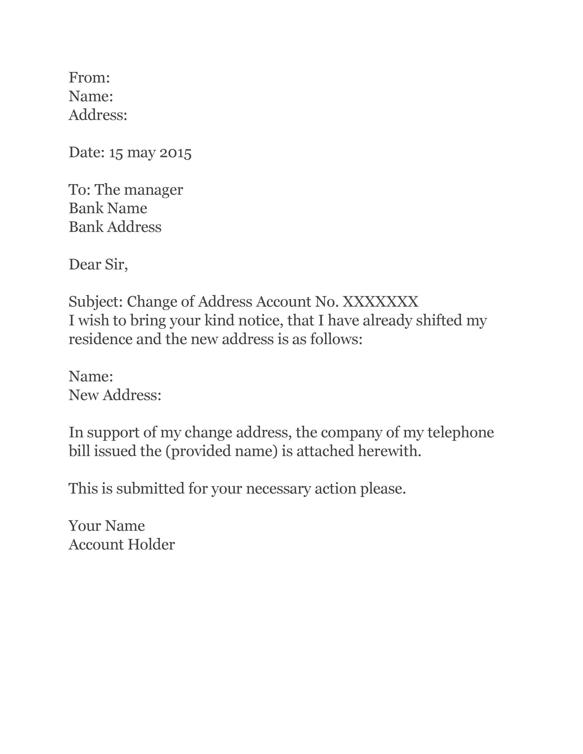 Free change of address letter 23