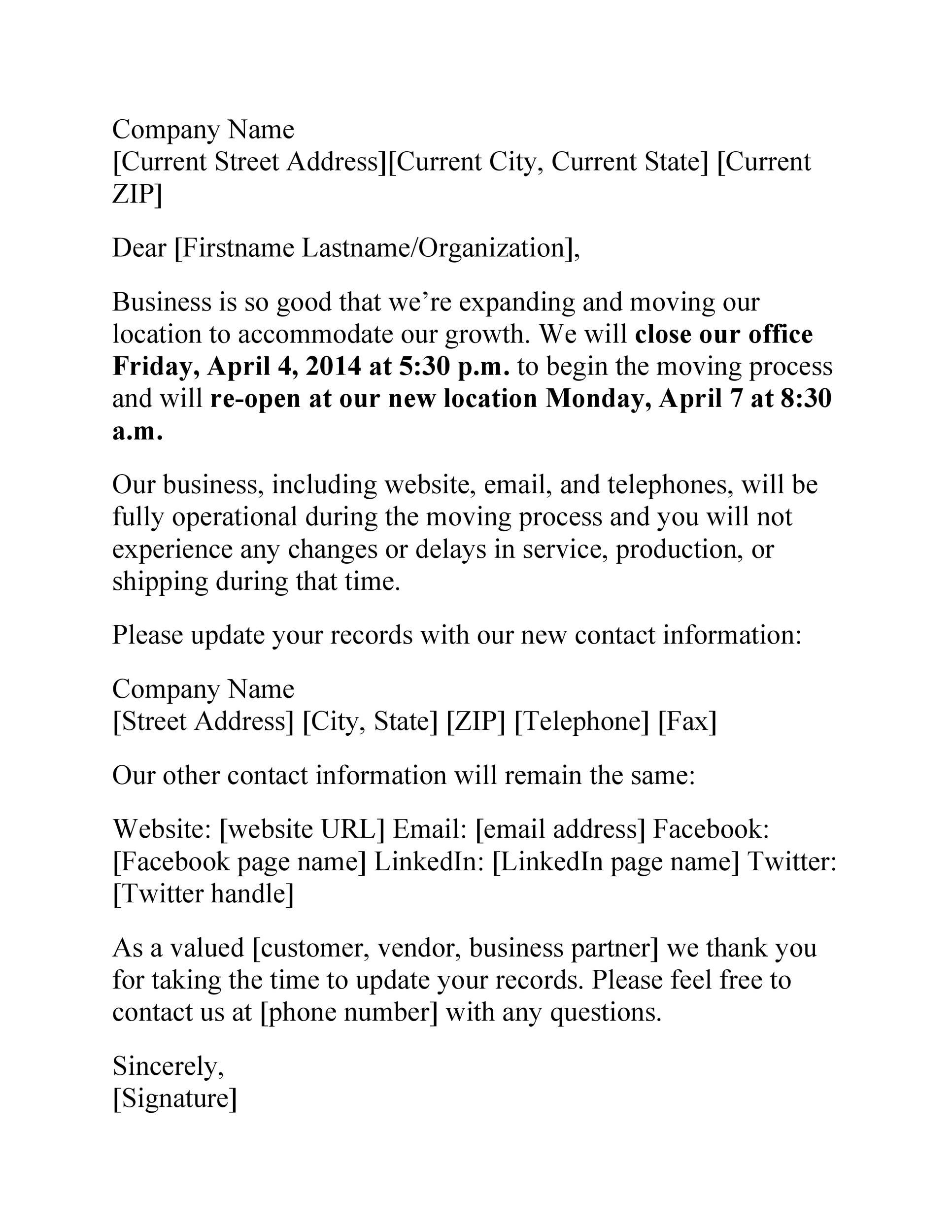 Free change of address letter 25
