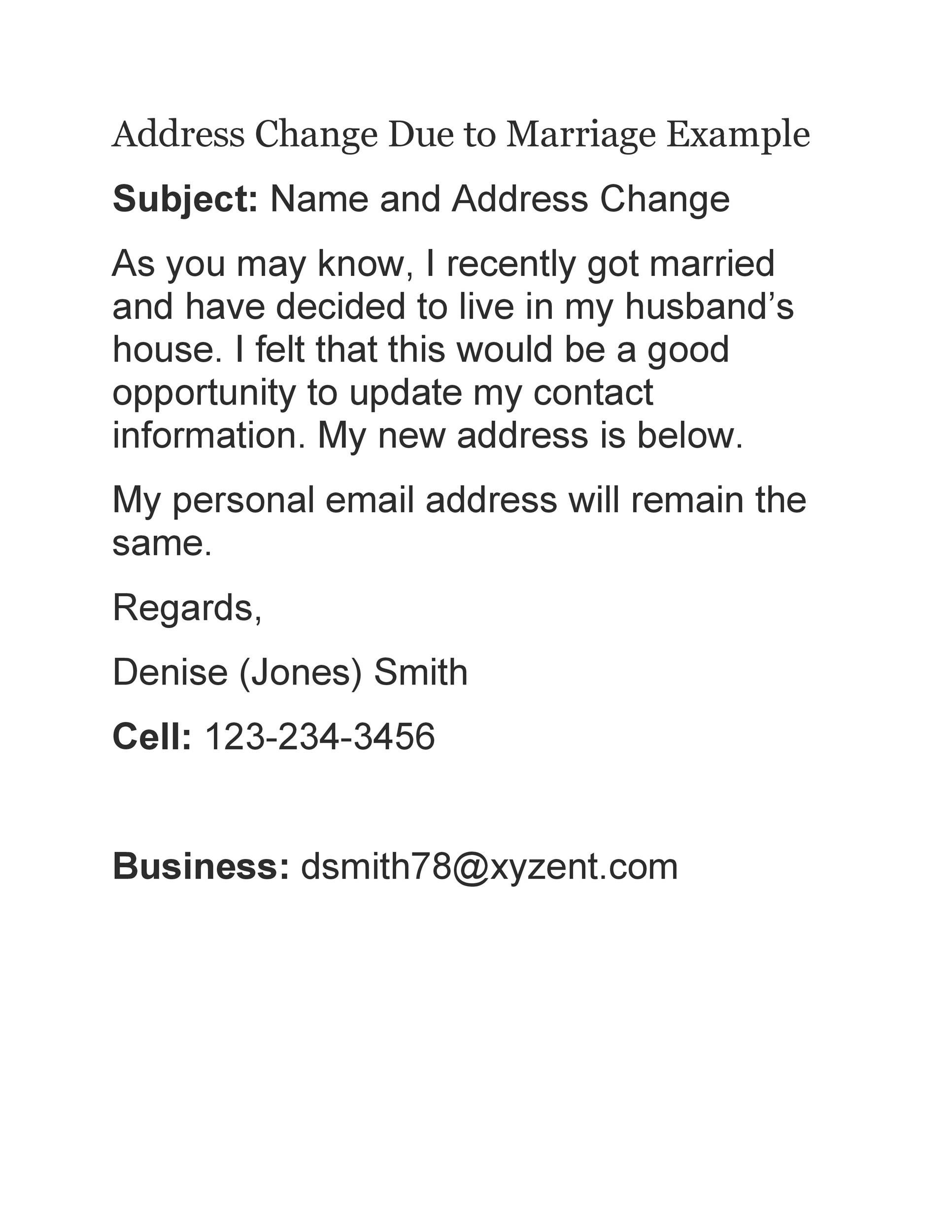 Free change of address letter 26
