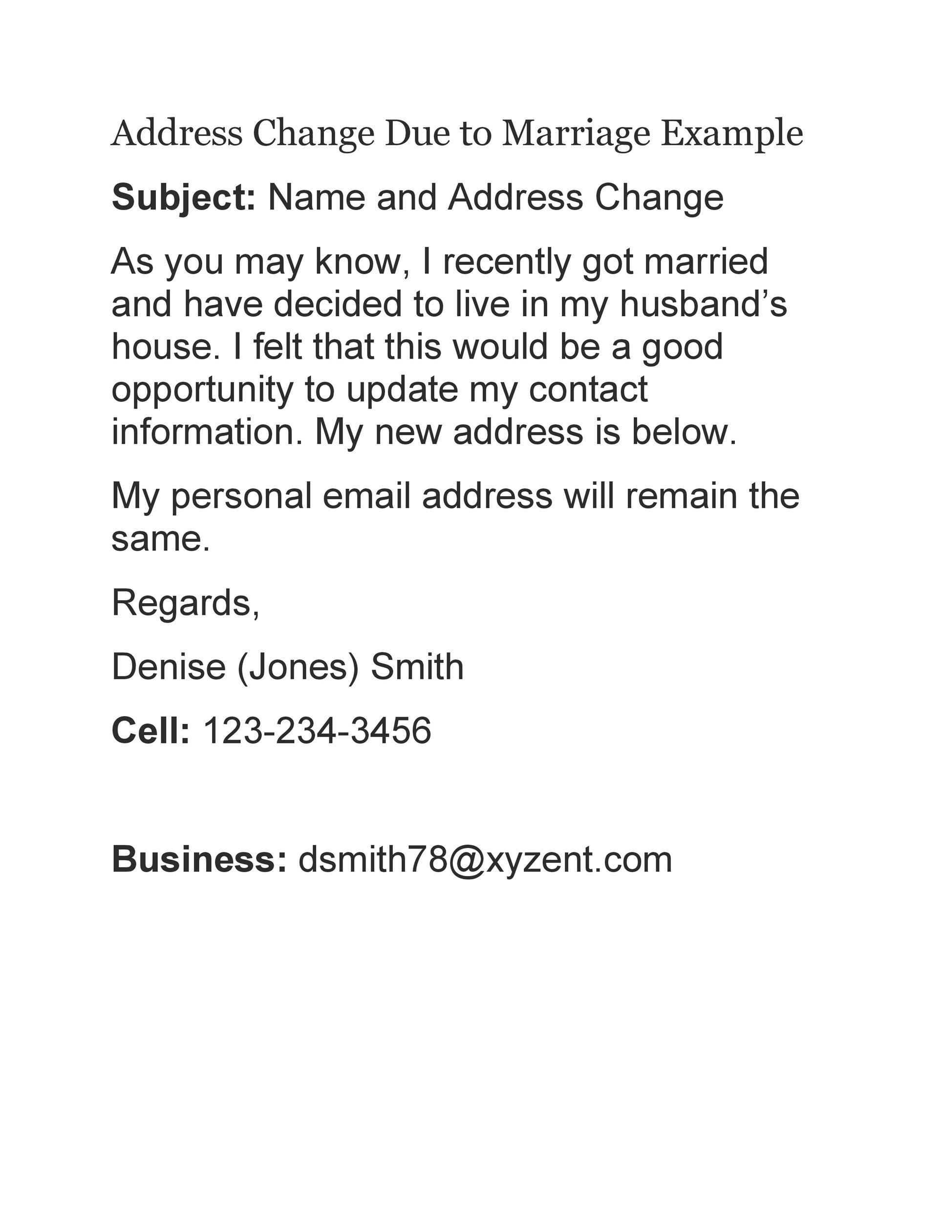 Free change of address letter 26
