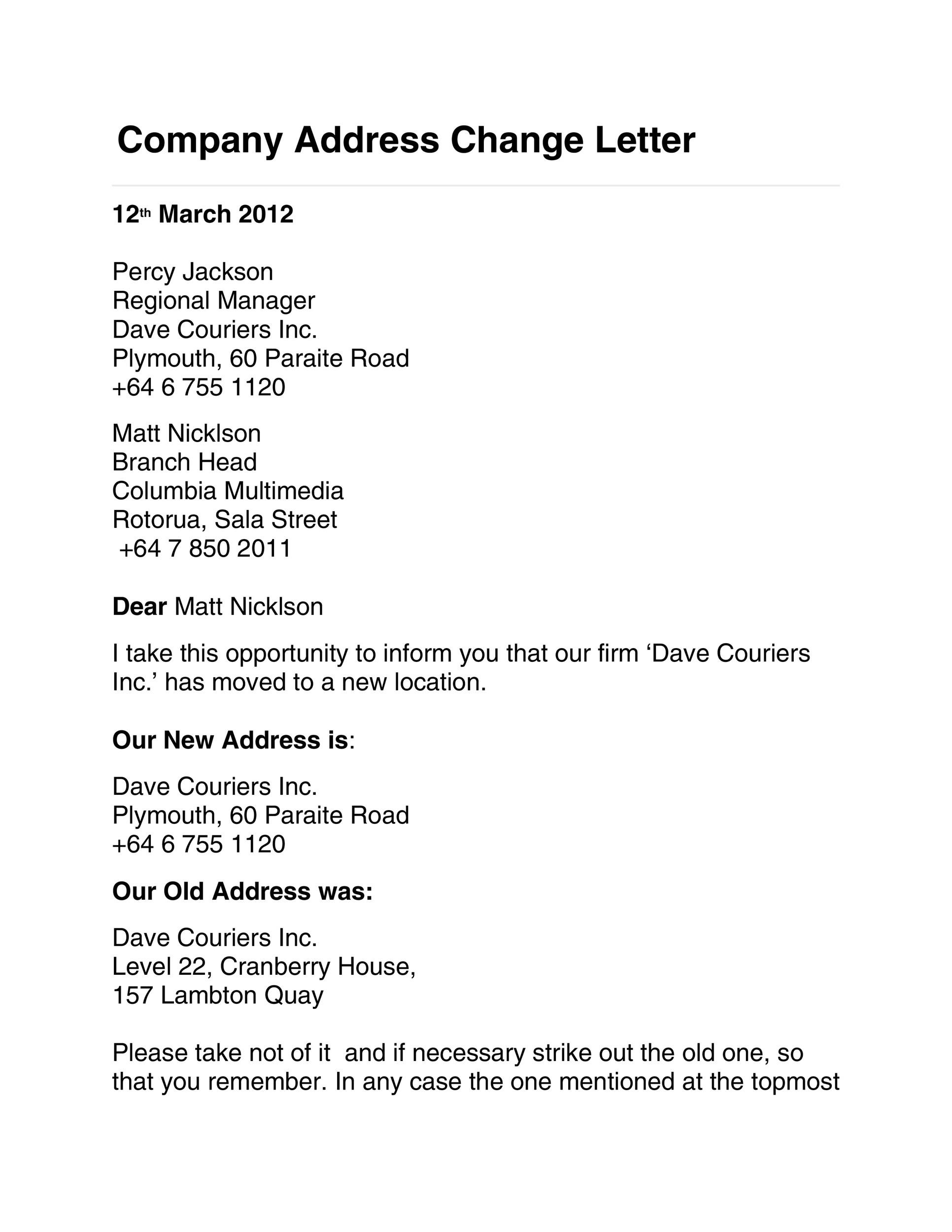 Free change of address letter 27