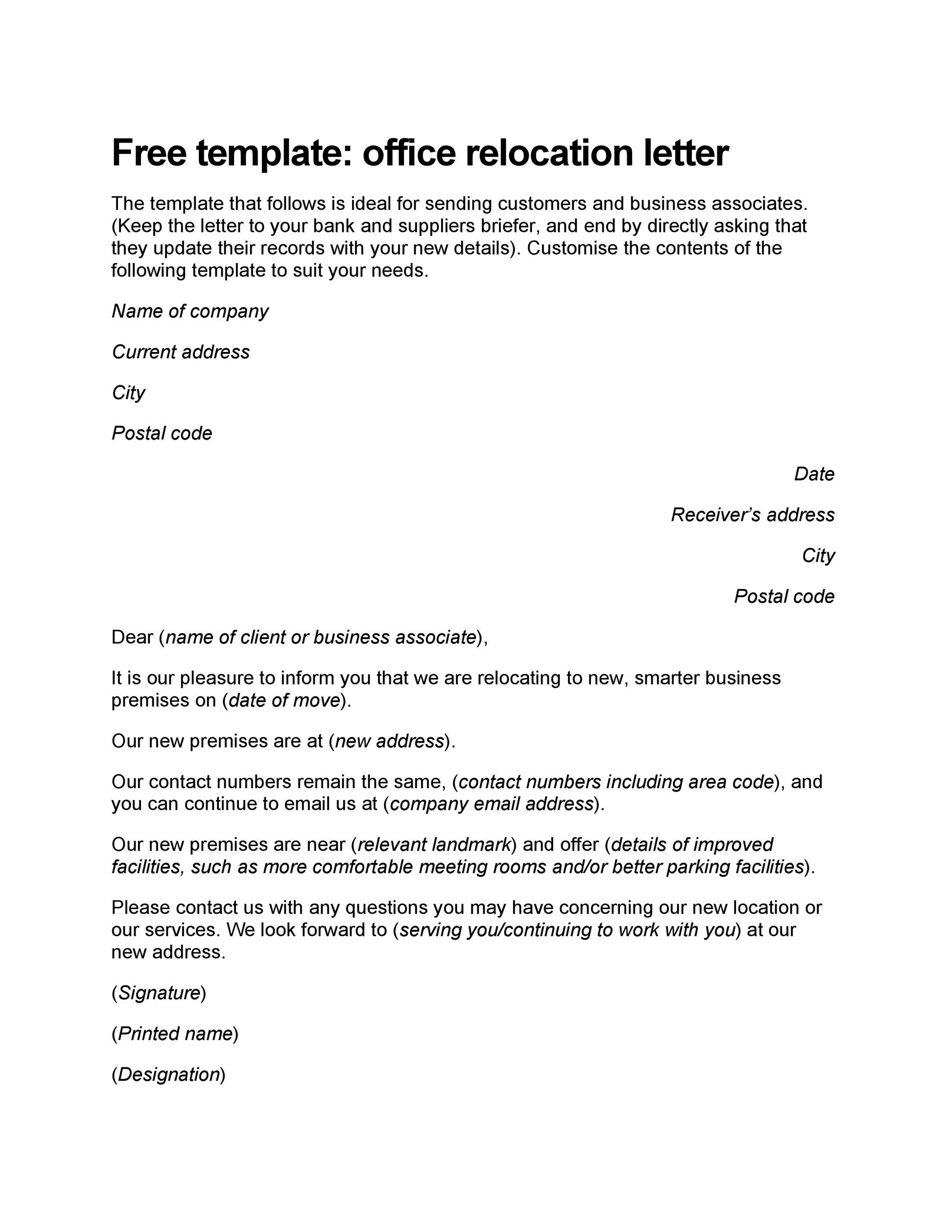 Free change of address letter 28