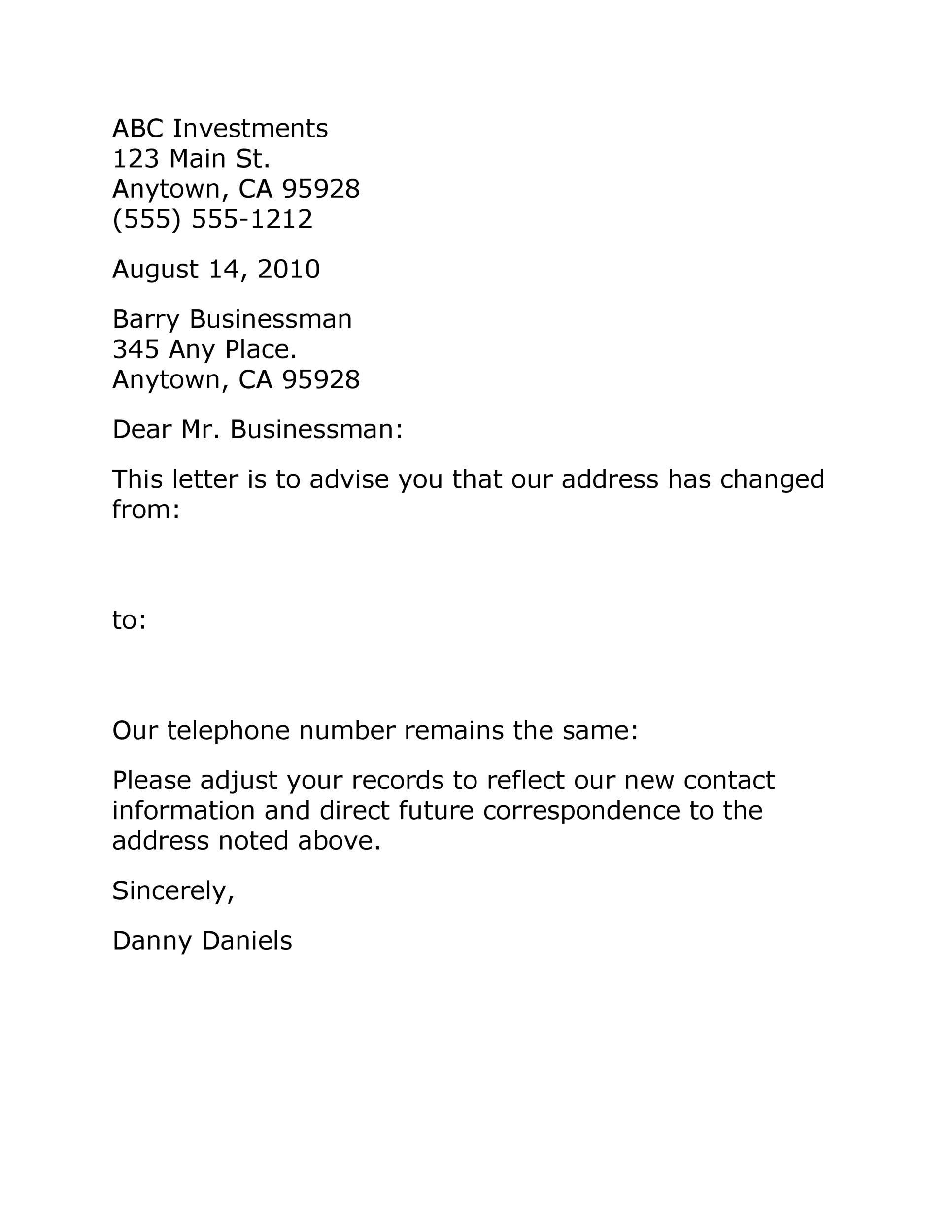 Free change of address letter 29