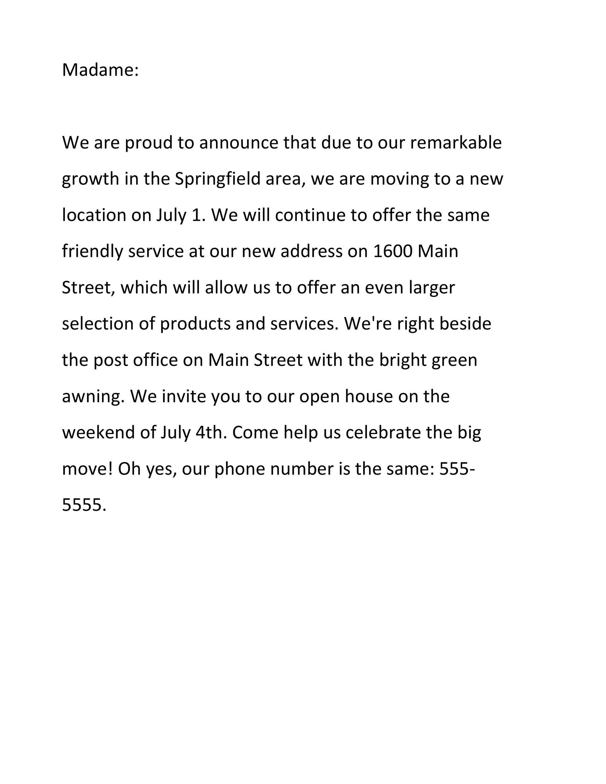 Free change of address letter 32