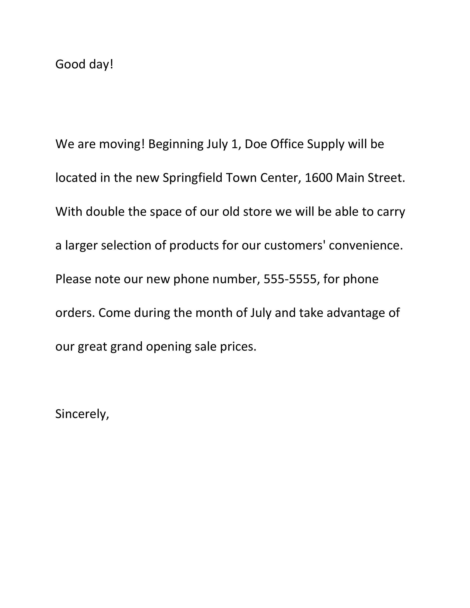 Free change of address letter 33