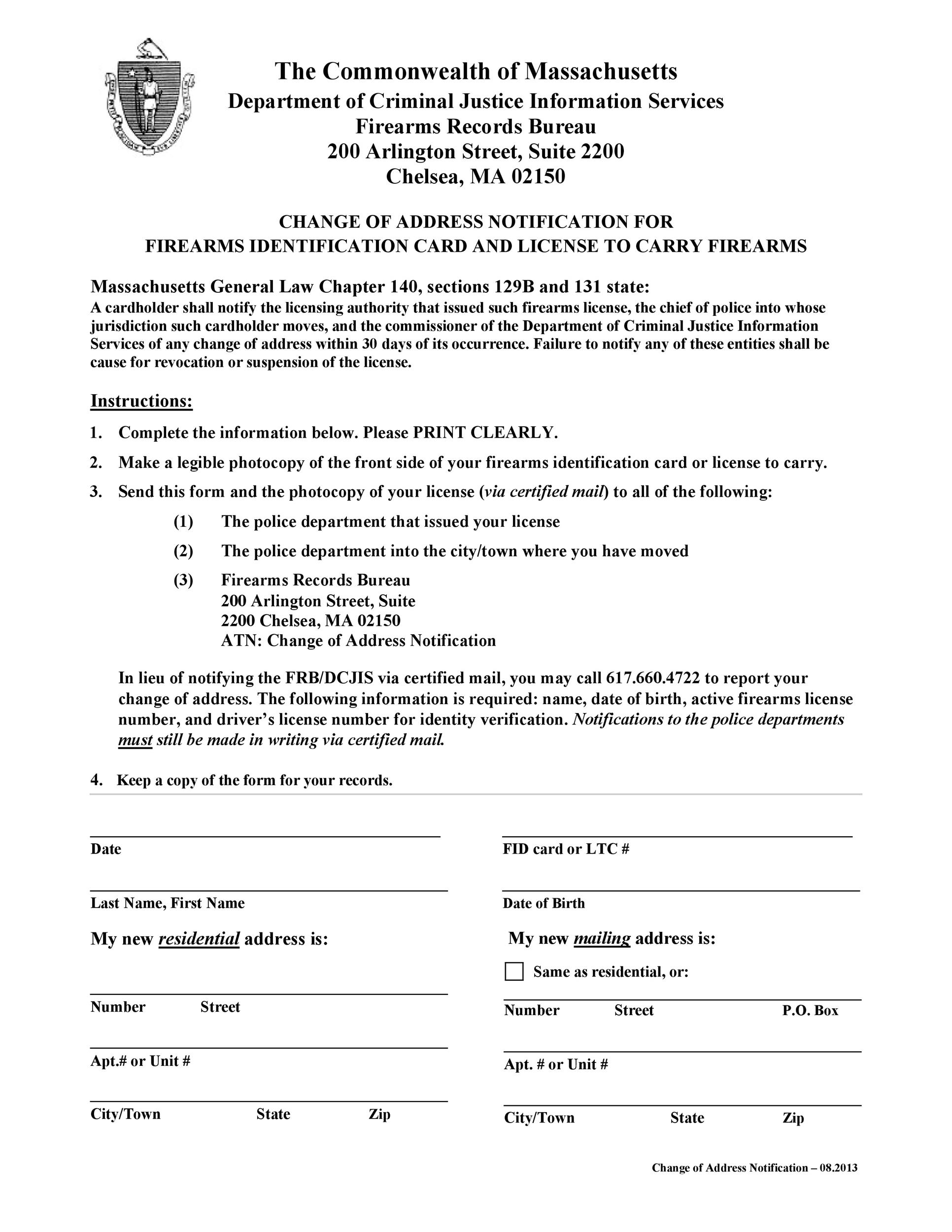 Free change of address letter 37