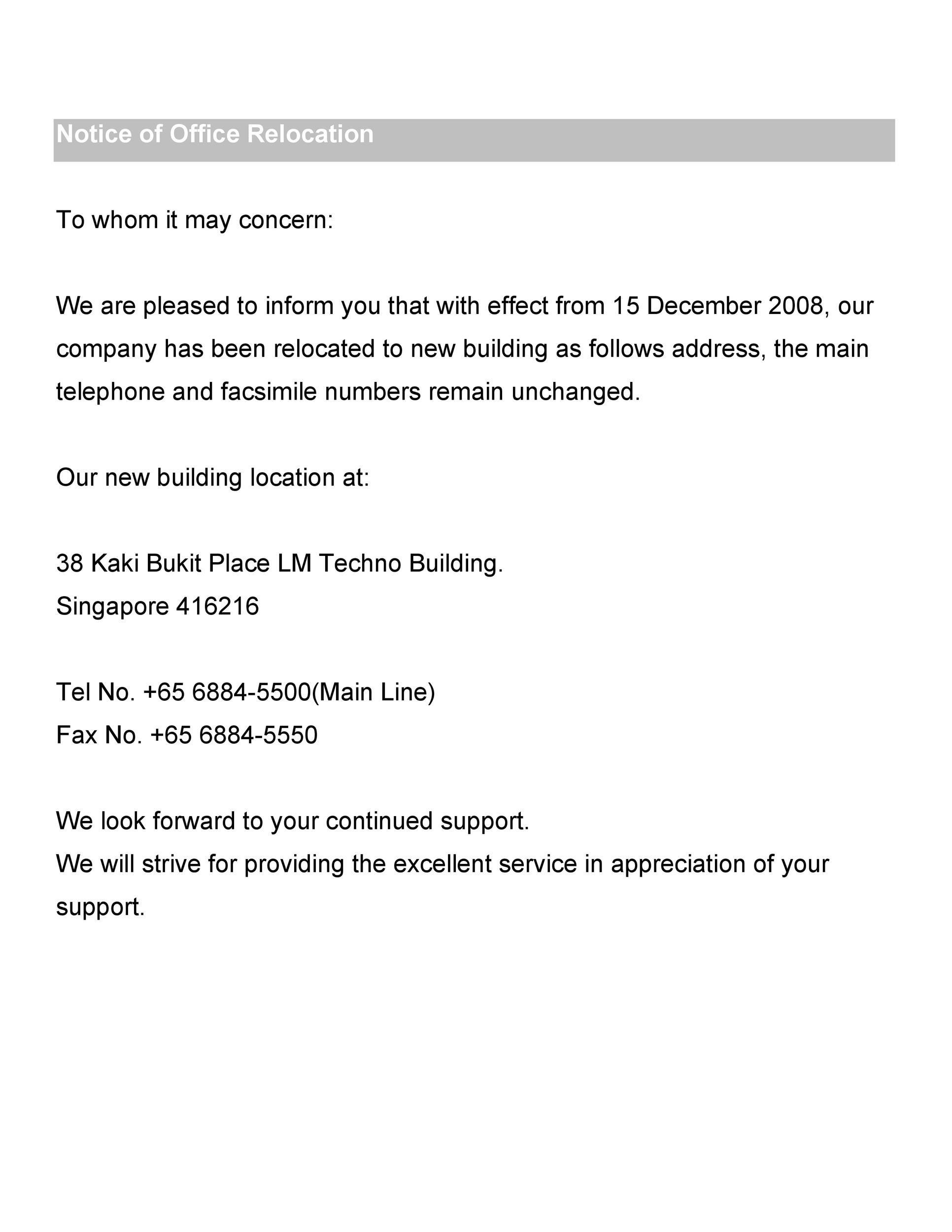 Free change of address letter 38