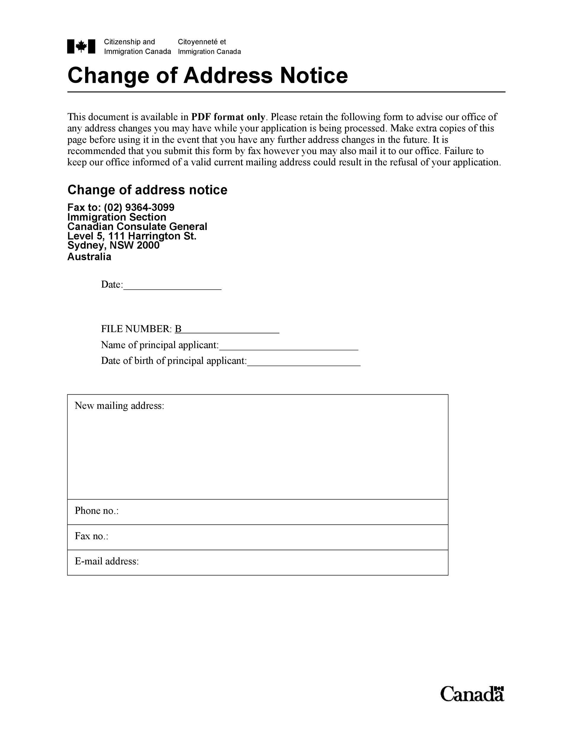Free change of address letter 40