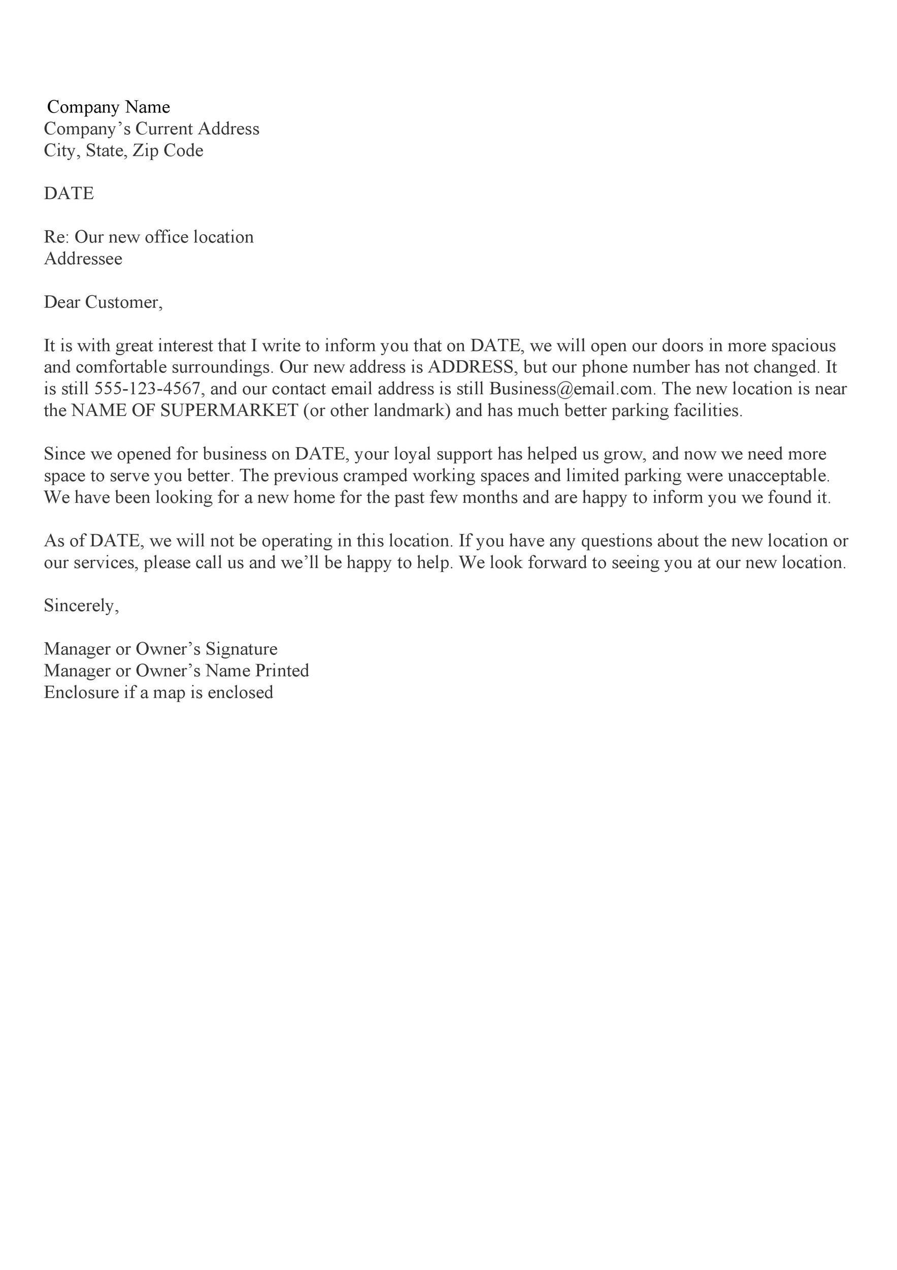 Free change of address letter 43
