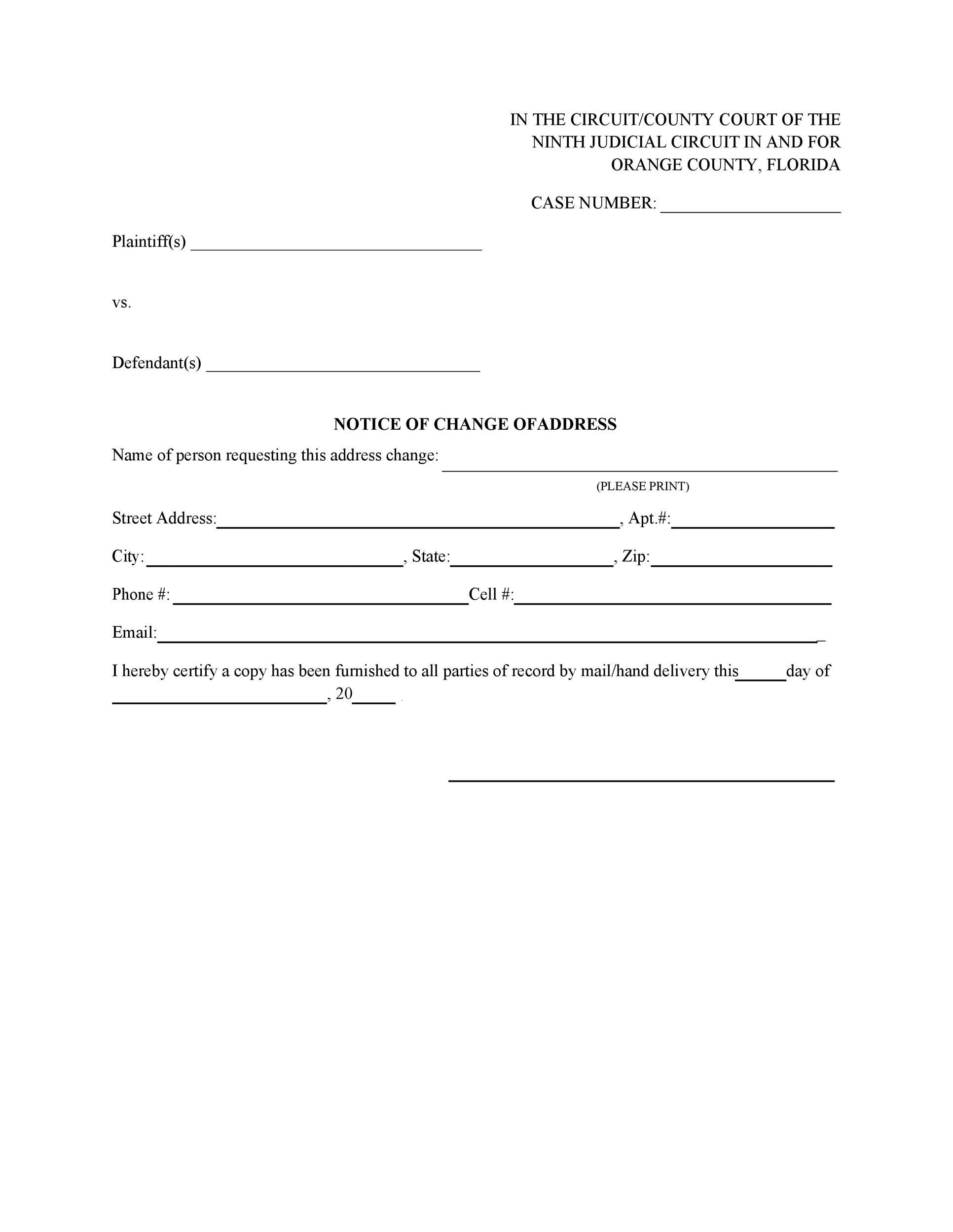 Free change of address letter 45