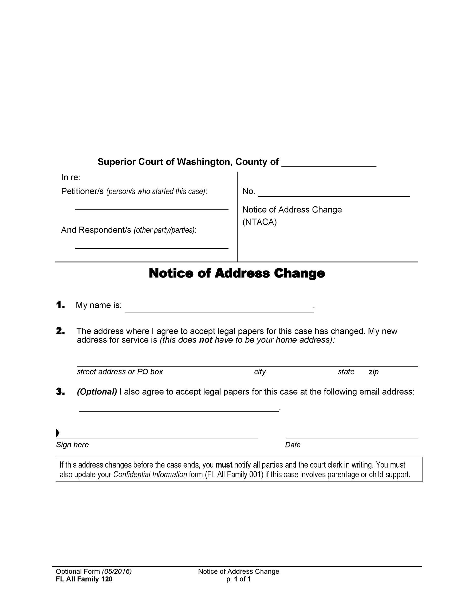 Free change of address letter 48