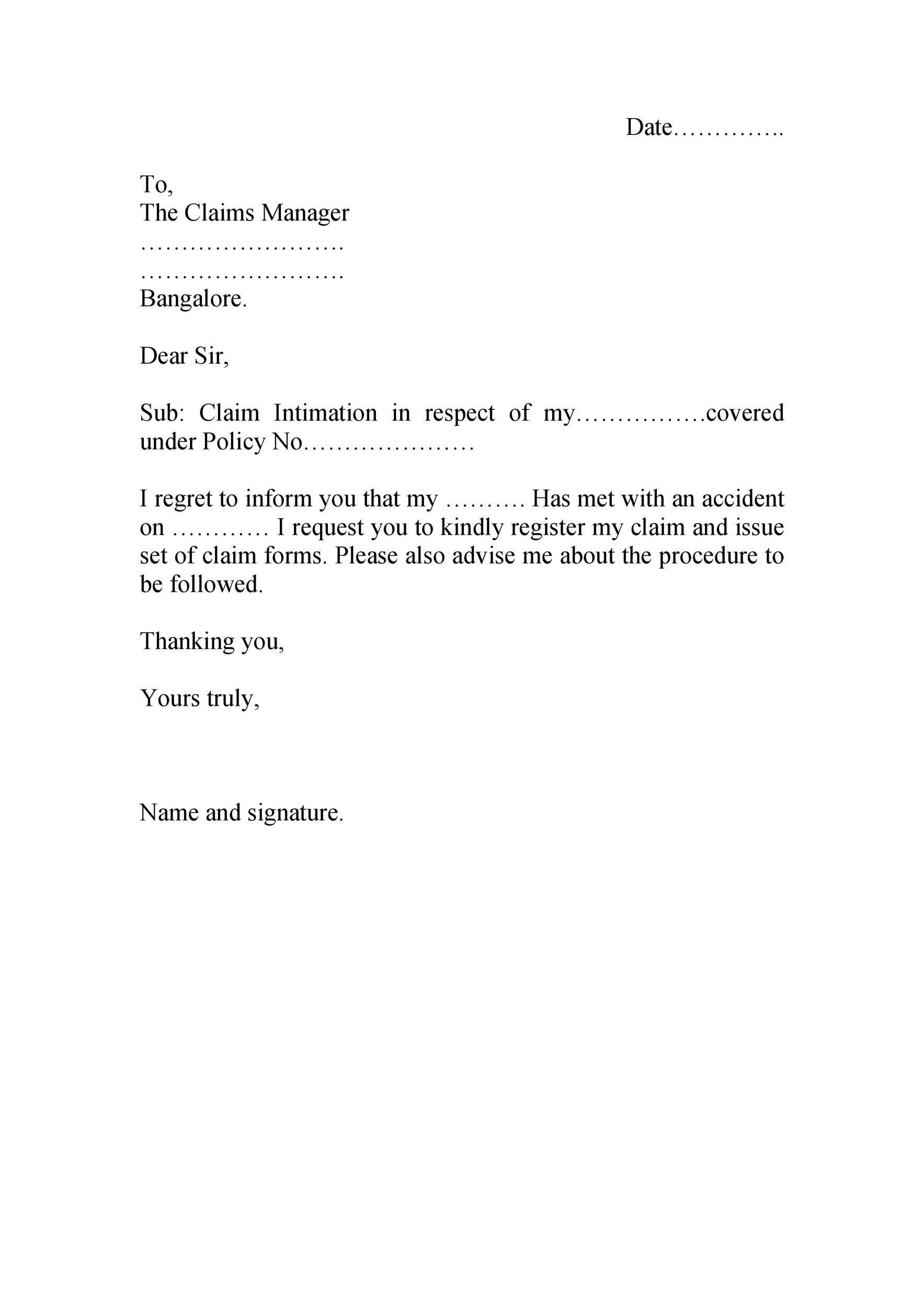 Insurance Claim Letter For Damaged Goods Collection ...