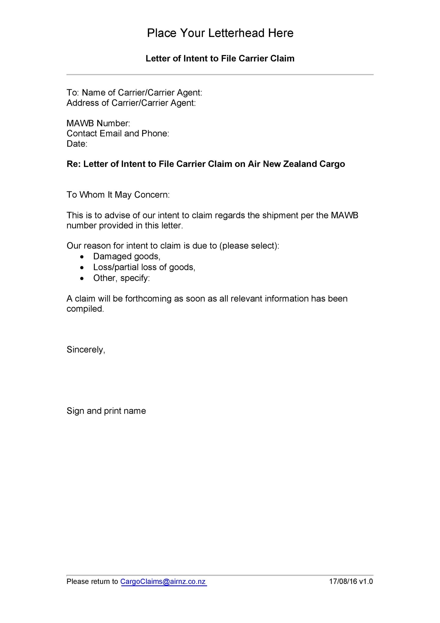 Free claim letter  26
