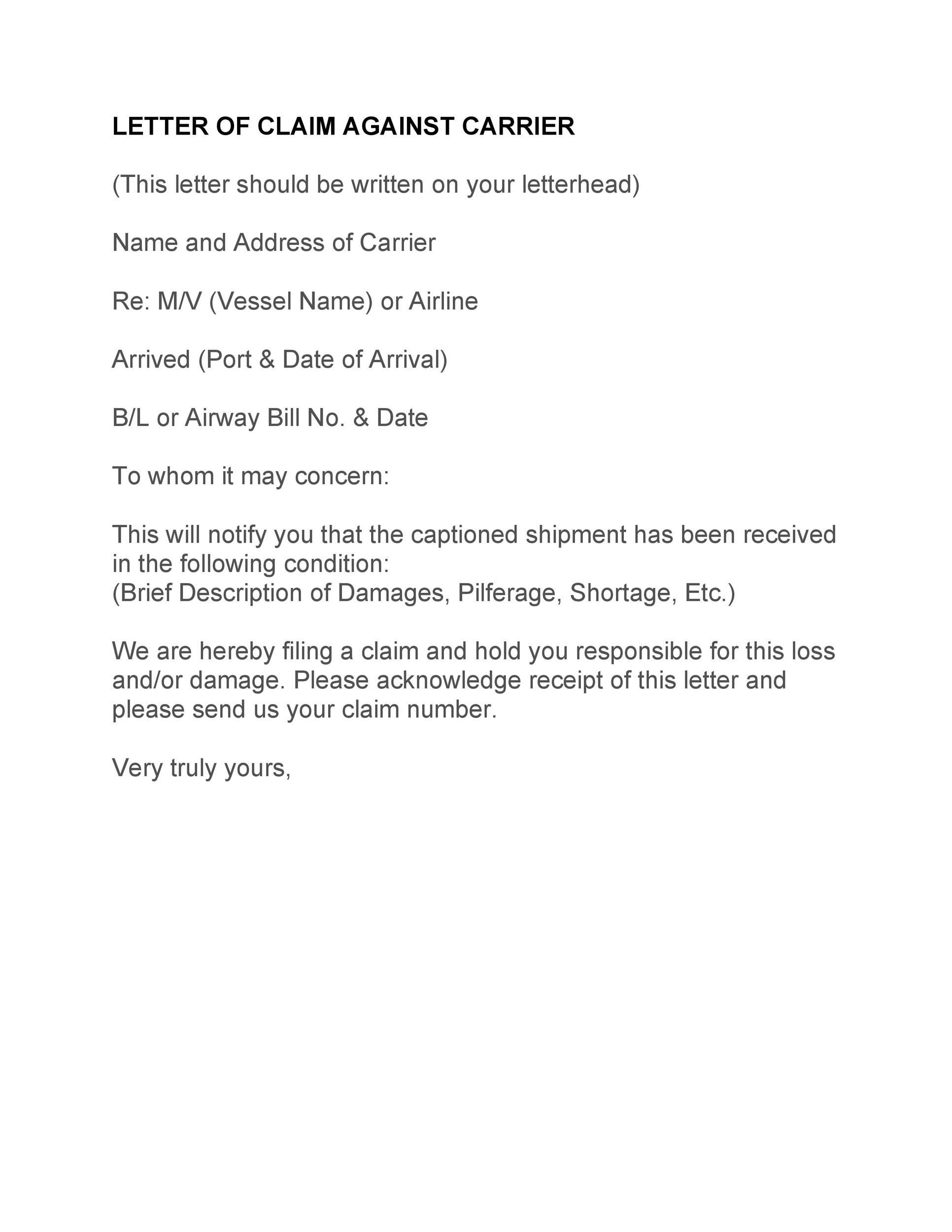 Free claim letter  29