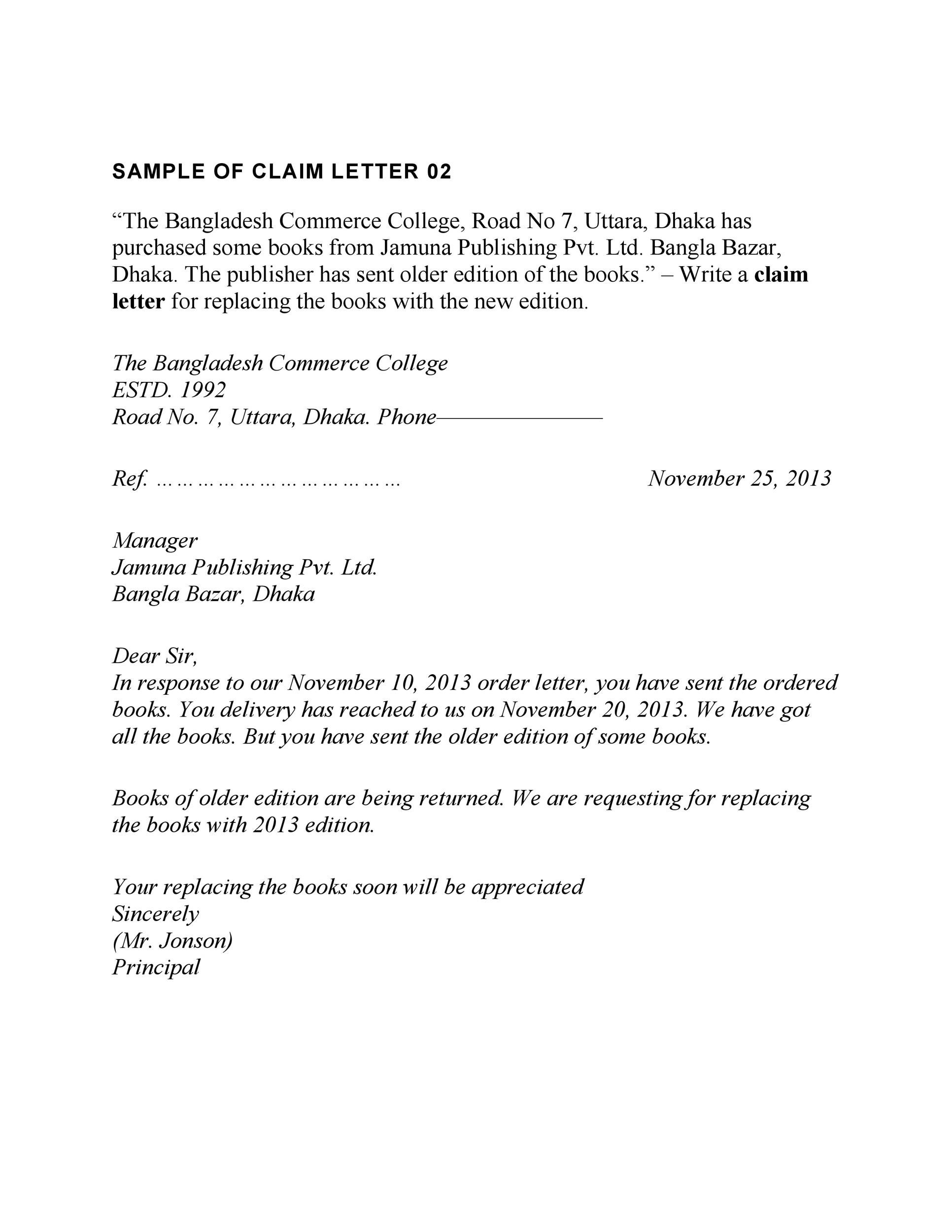 Claims Letter | 49 Free Claim Letter Examples How To Write A Claim Letter