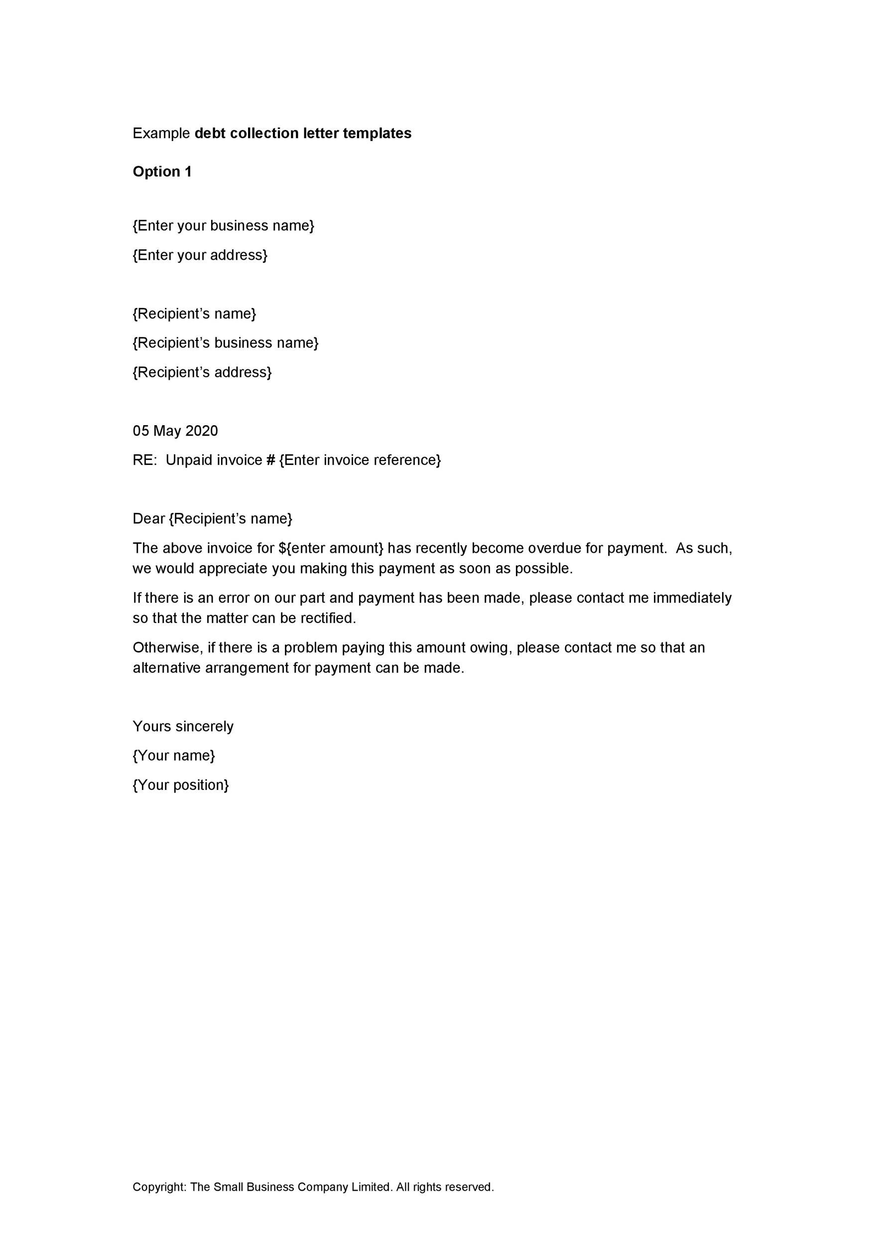 Free collection letter template 03